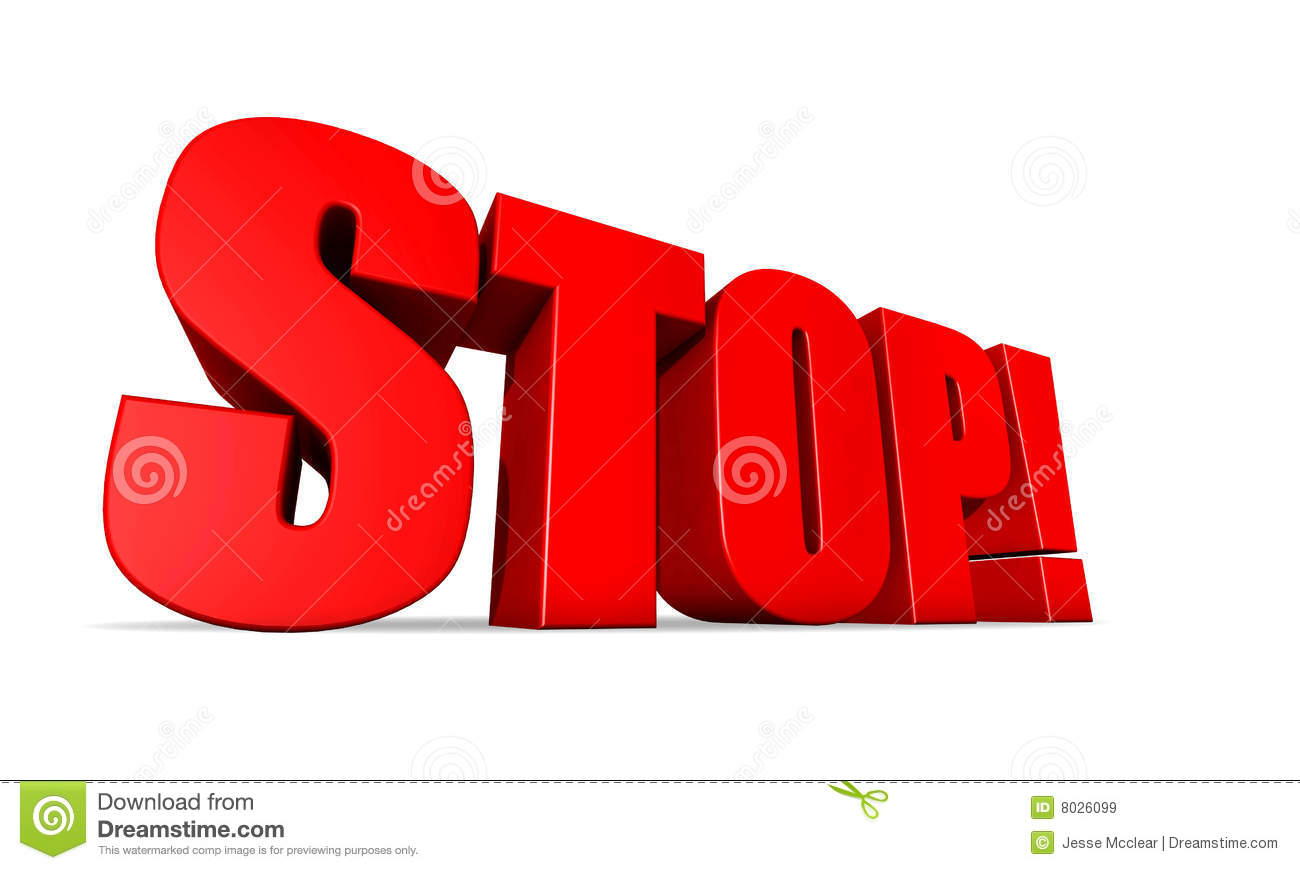 ... of the word stop with bright red letters on a white background