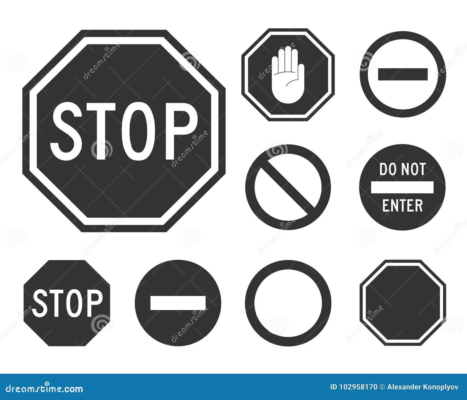 Stop road sign set