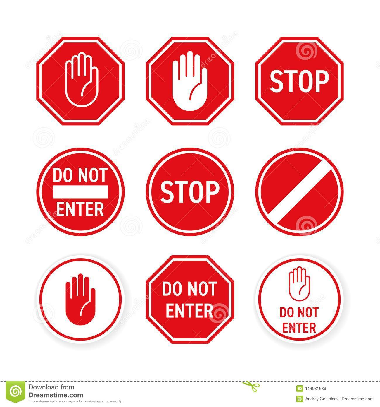 Stop Road Sign Vector Red Hand Enter Gesture Stock Vector