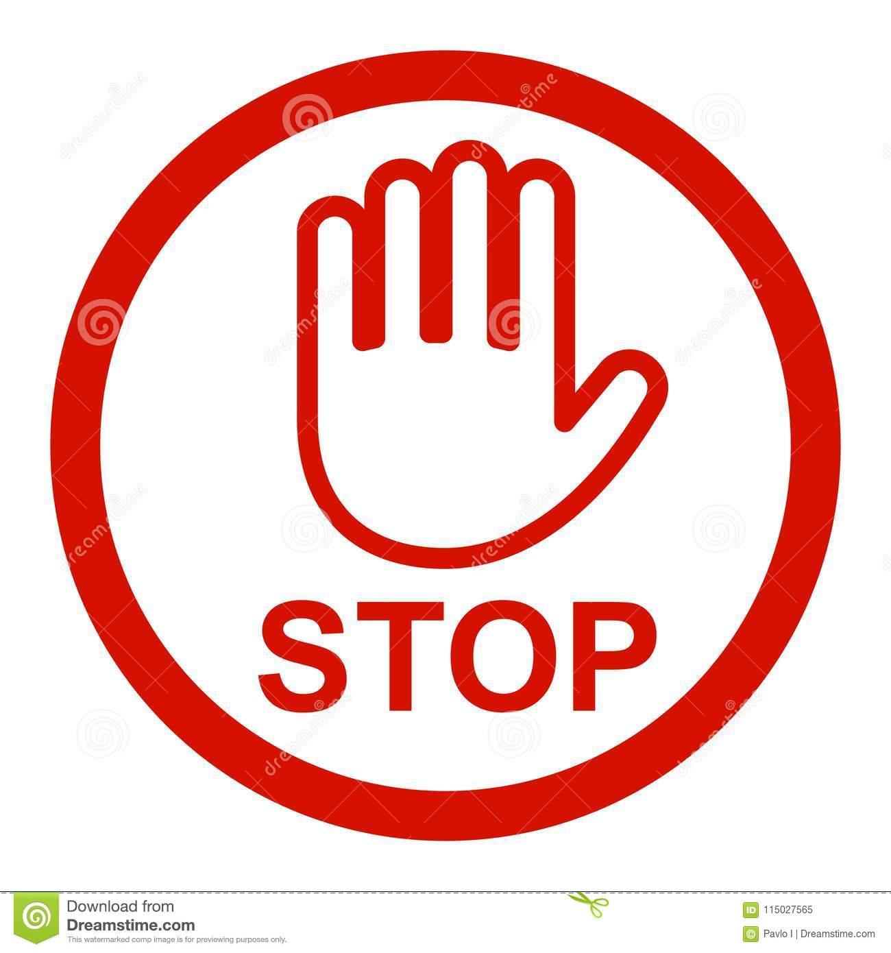 Stop Sign Icon With Hand One Line - Vector Stock