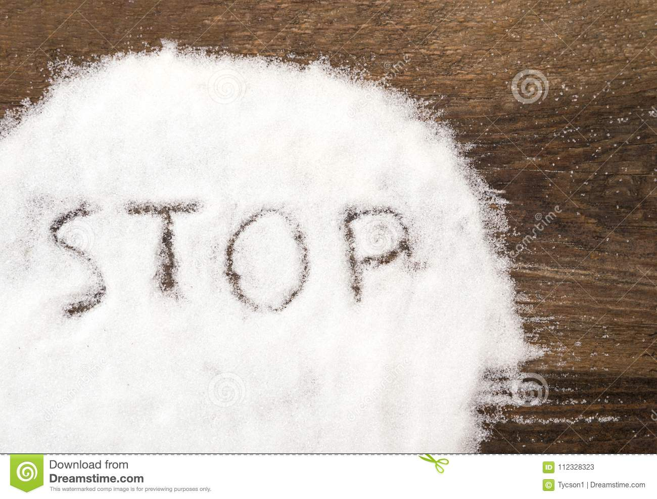 Stop sign made of granular sugar