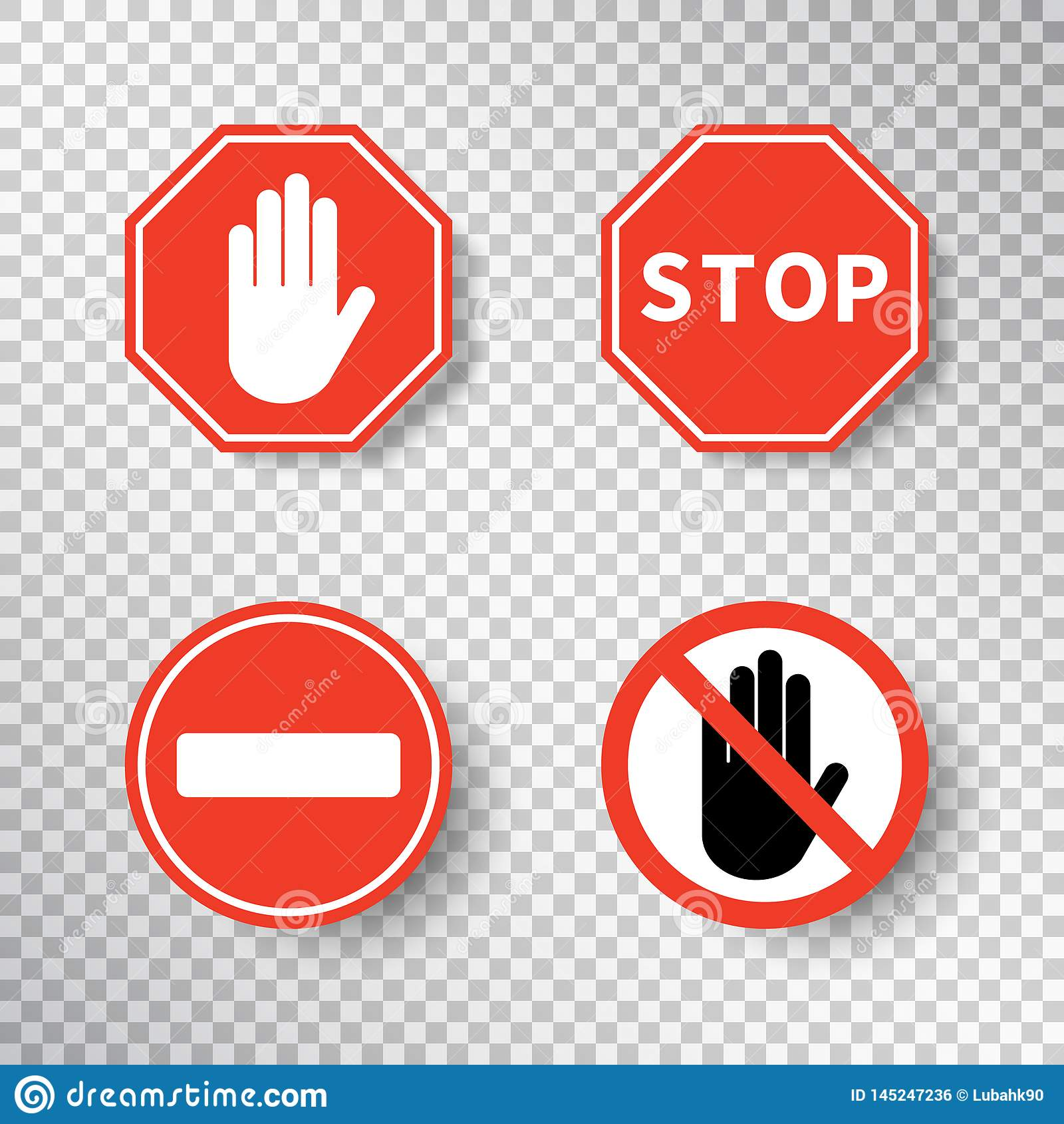 Stop Sign And No Entry Hand Symbol Set Isolated On Transparent