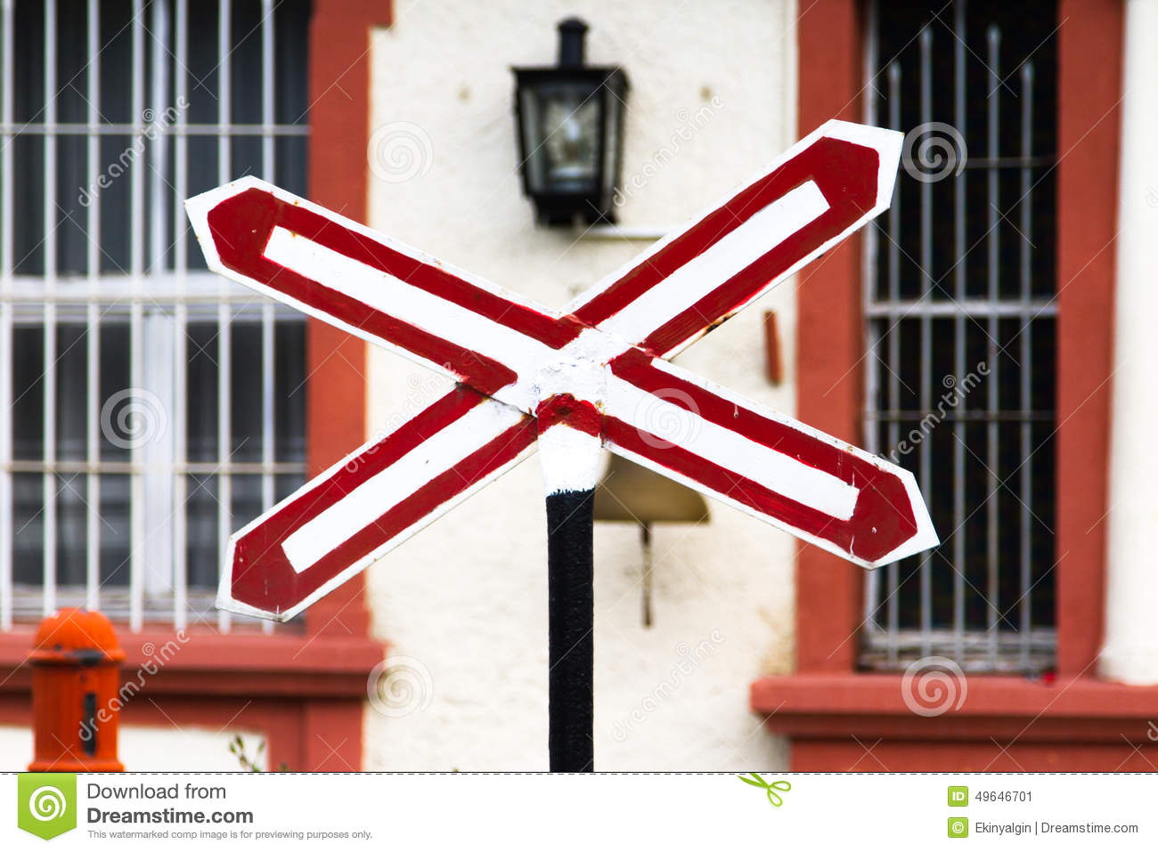 stop sign on train station stock image image of template 49646701
