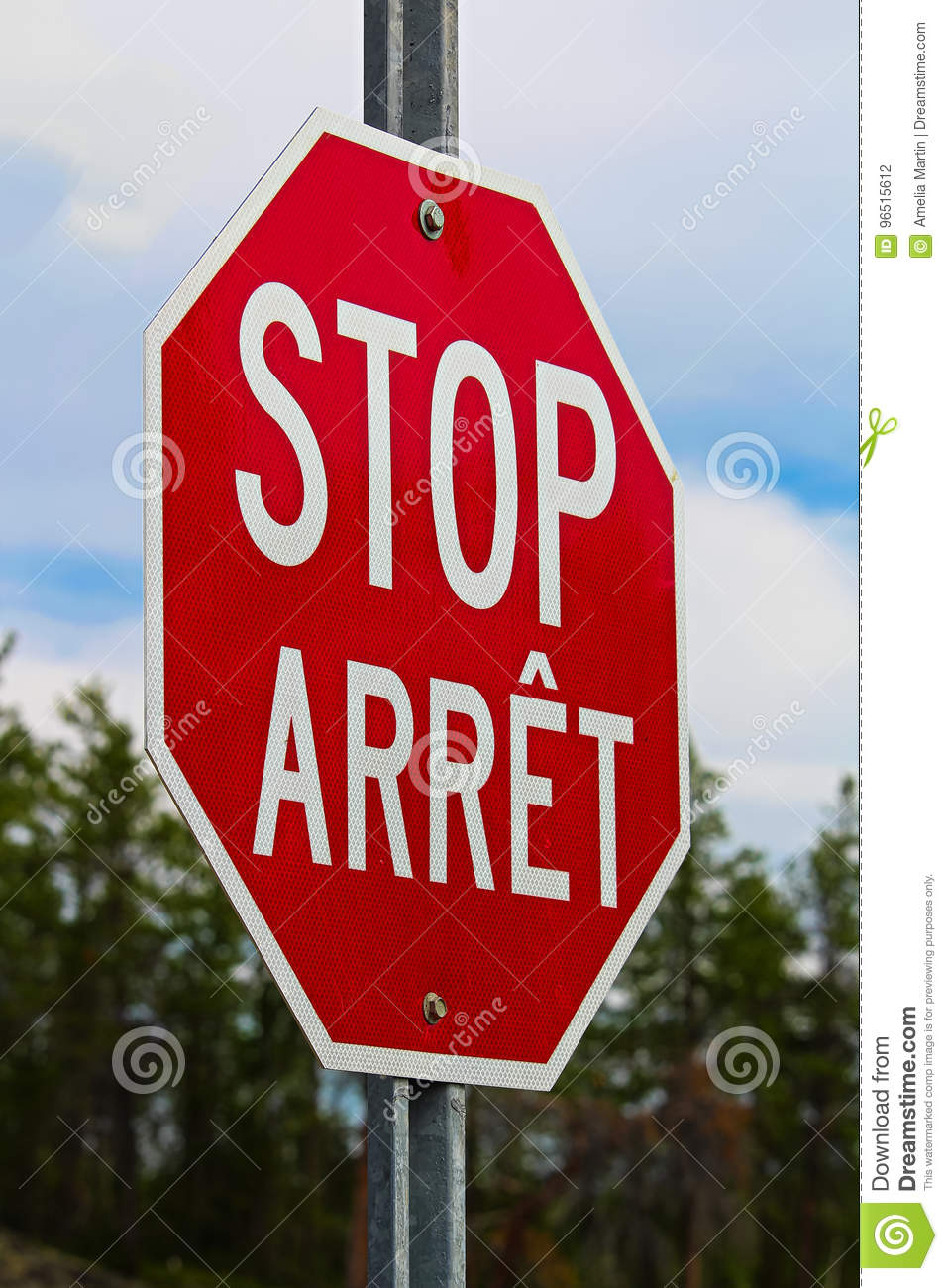 A stop sign written in both english and french