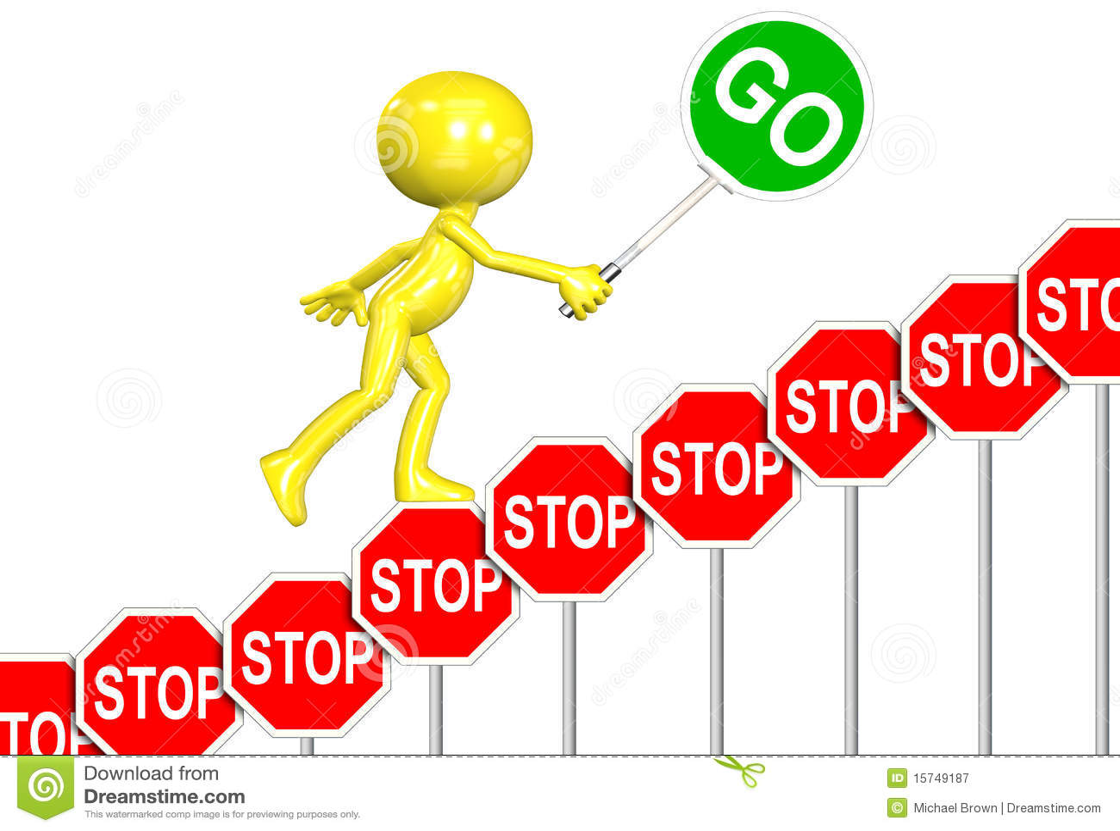 stop signs go sign progress 3d man cartoon royalty free