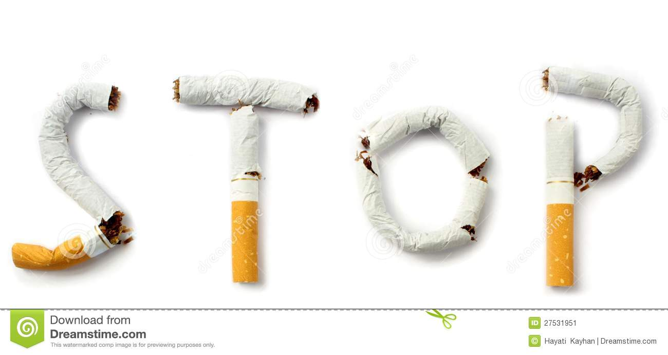 Stop smoking text with cigarettes stop smoking concept.