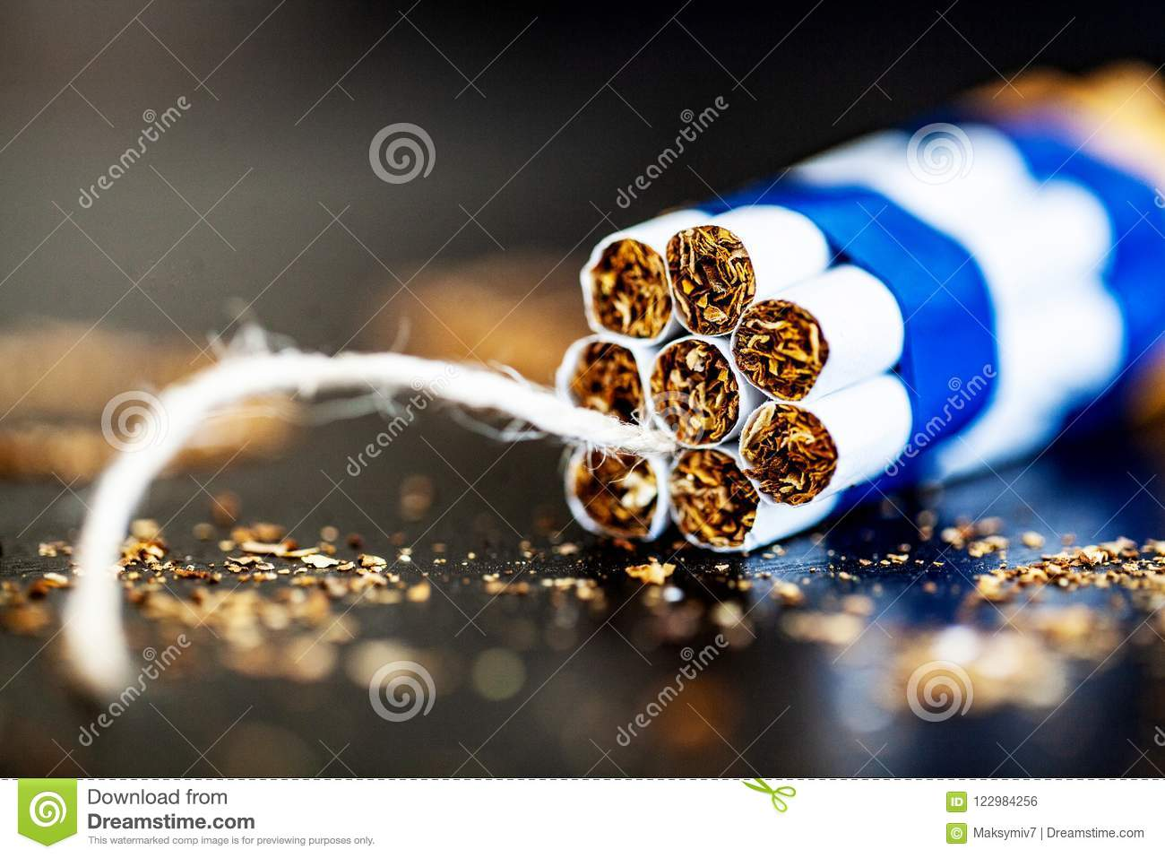Stop Smoking Concept On Background With Broken Cigarettes  Heap