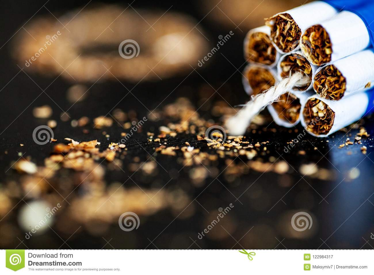 Stop Smoking Concept On Background With Broken Cigarettes