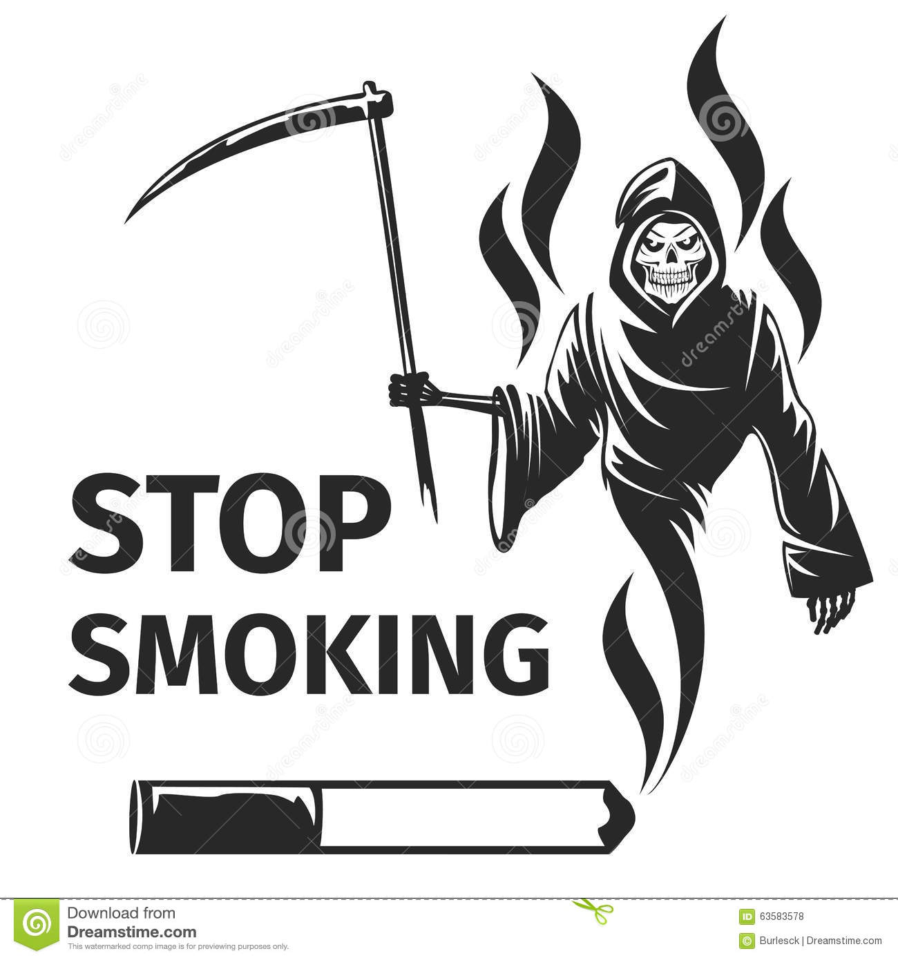 Cigarette Death Sign Black on smoke filter