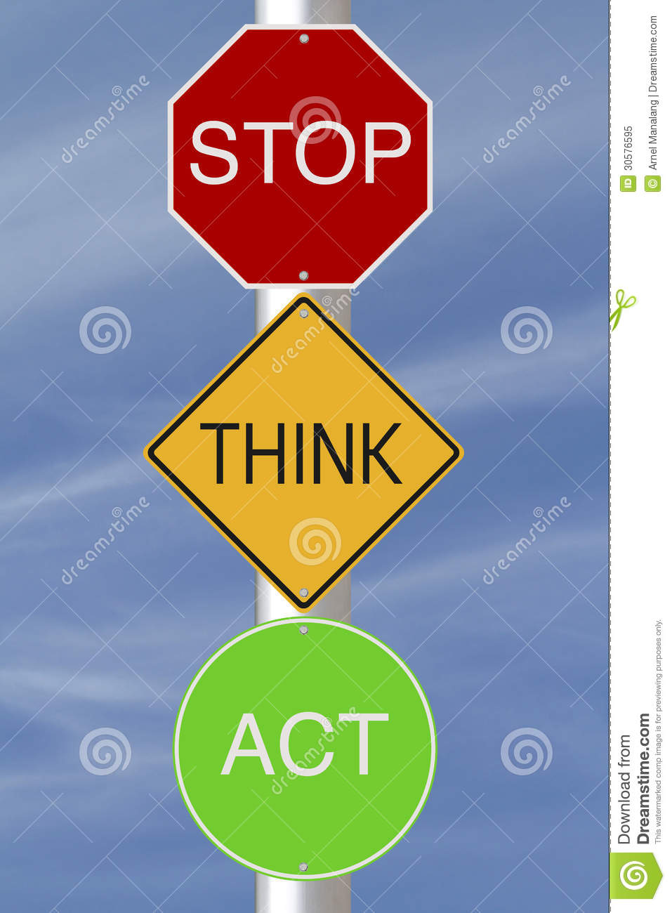 Stop Think Act Royalty Free Stock Photo - Image: 30576595