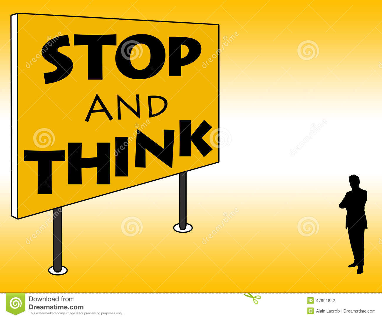 stop and think stock illustration illustration of idea 47991822