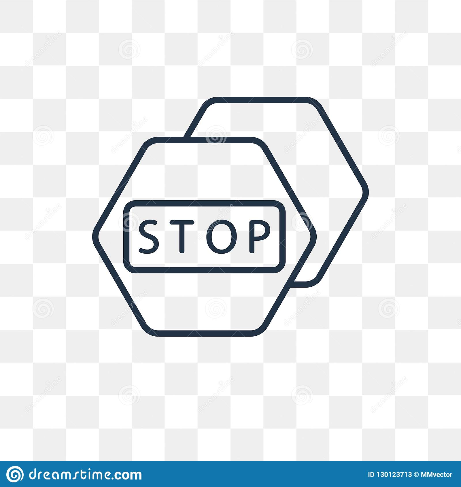 Stop Vector Icon Isolated On Transparent Background, Linear