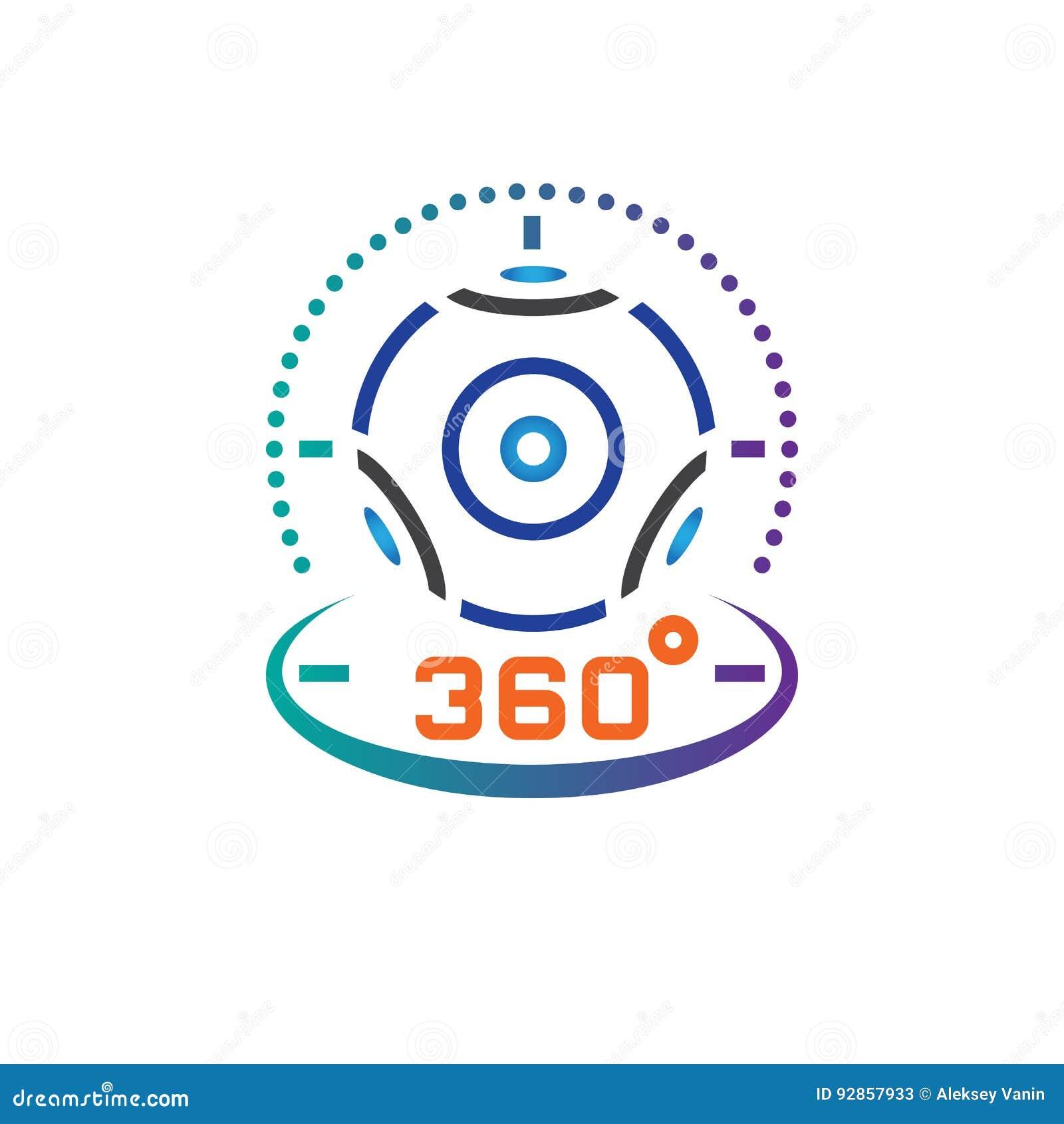 360 stopni kamera wideo linii panoramiczna ikona, rzeczywistość wirtualna przyrządu konturu loga wektorowa ilustracja, liniowy pi