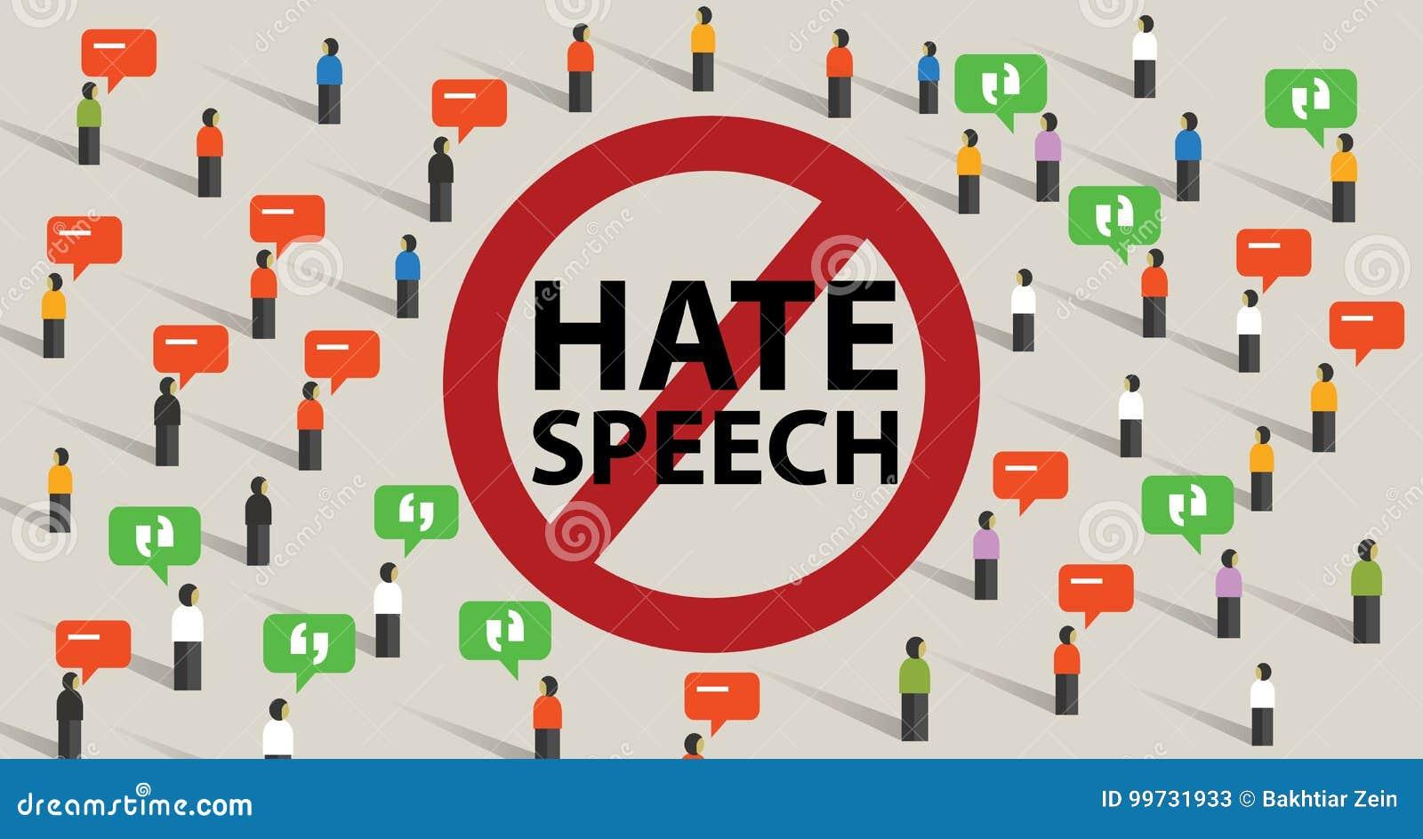 Stoppa starten för våld för konflikten för hatanförande från aggressiv kommunikation för kommentarer av folkmassan