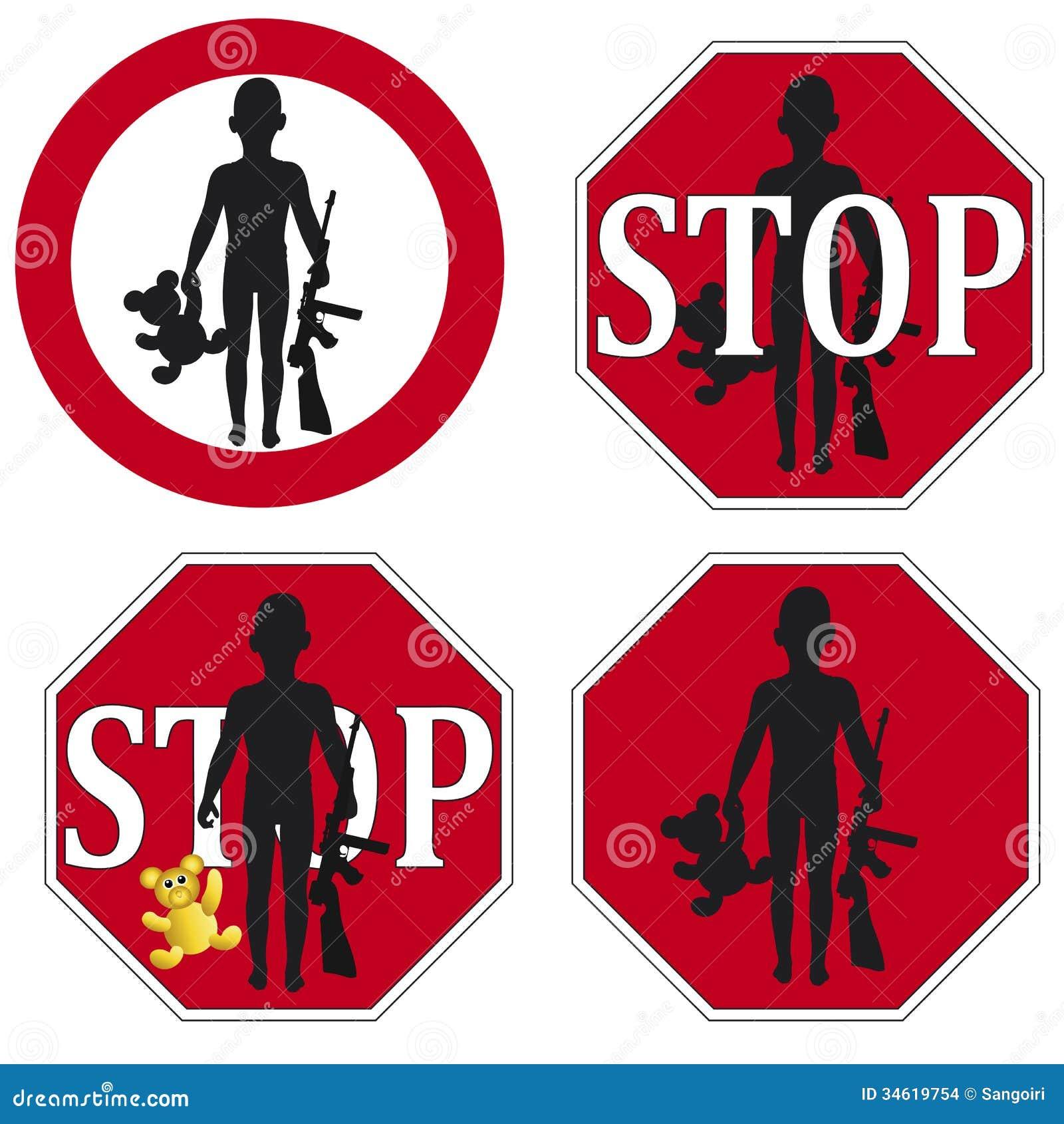 Stoppen Sie den Gebrauch des Kindersoldaten