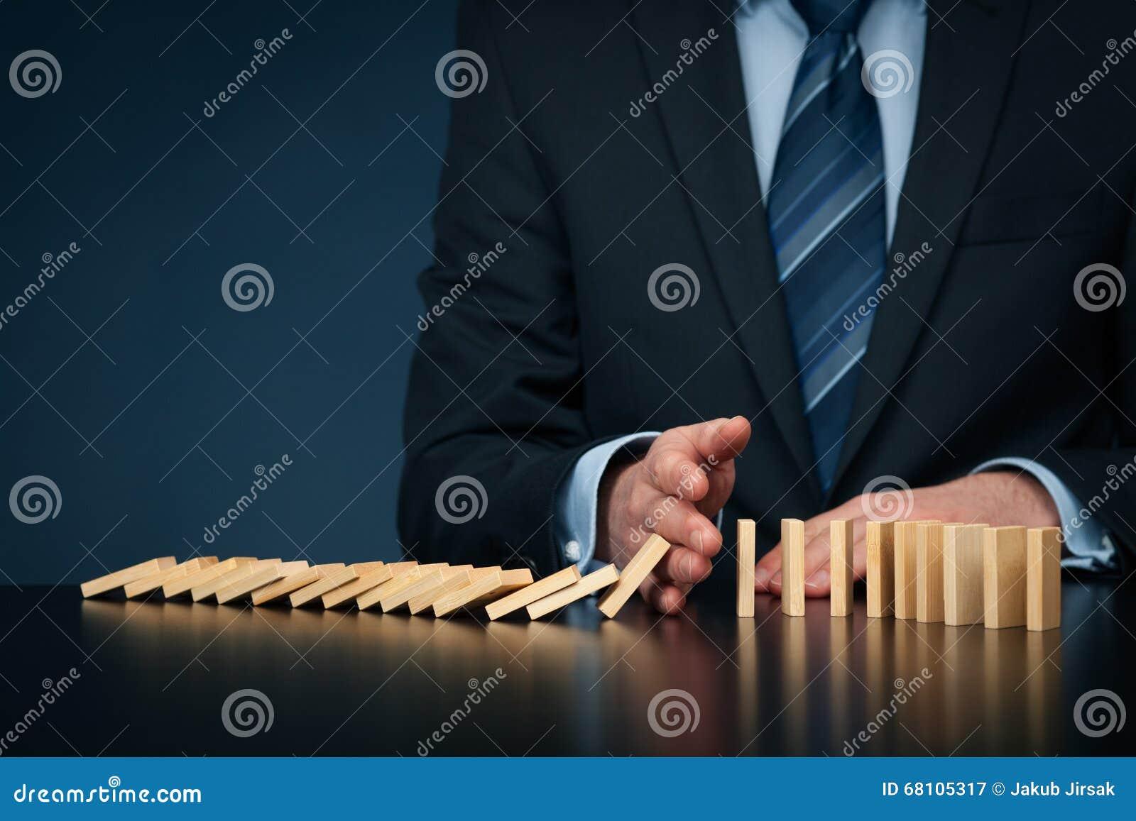 Stoppen Sie Domino-Effekt- und Risikomanagement