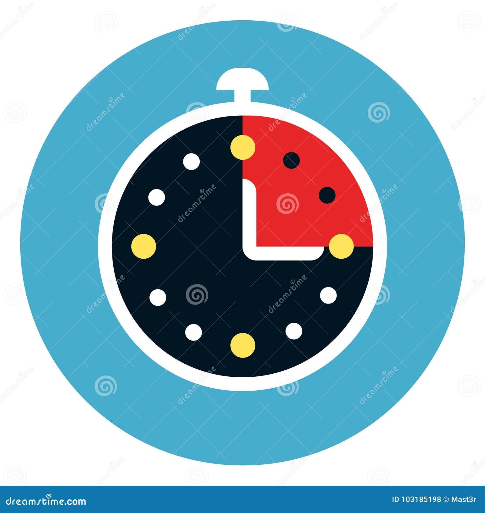 Stoppuhr-Ikone auf rundem blauem Hintergrund