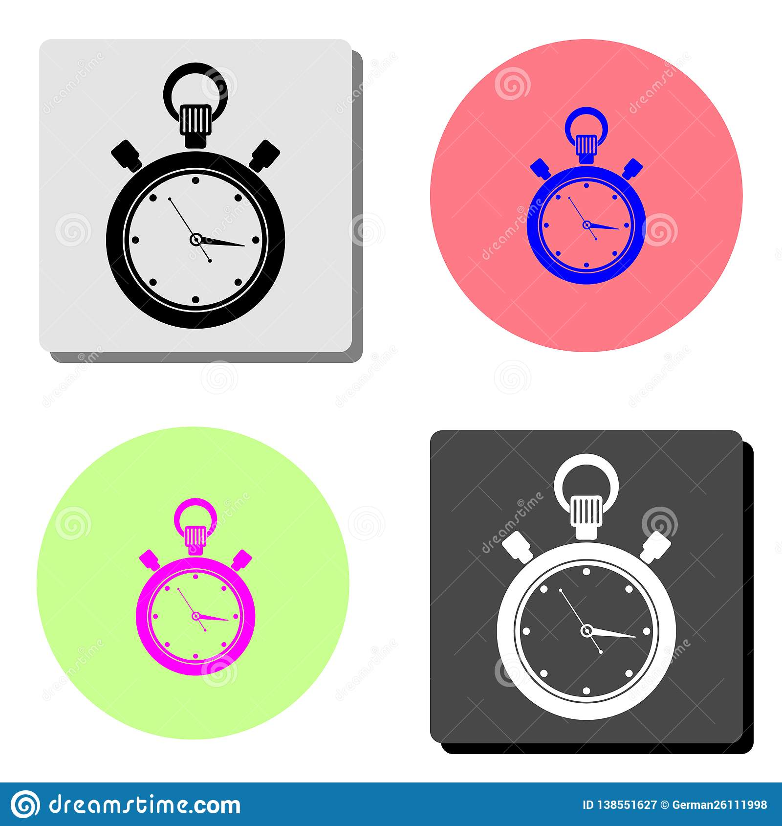 Stopwatch Icona piana di vettore