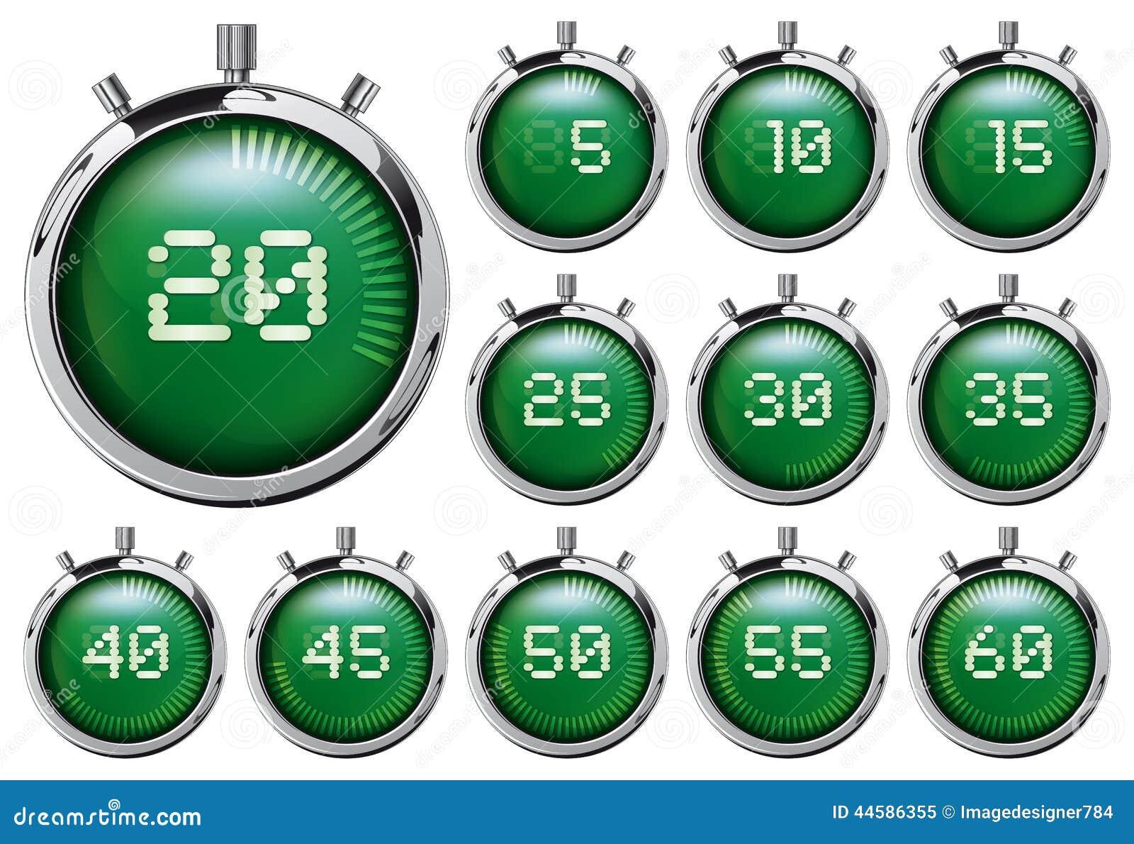 Stopwatch Insieme dei temporizzatori digitali verdi