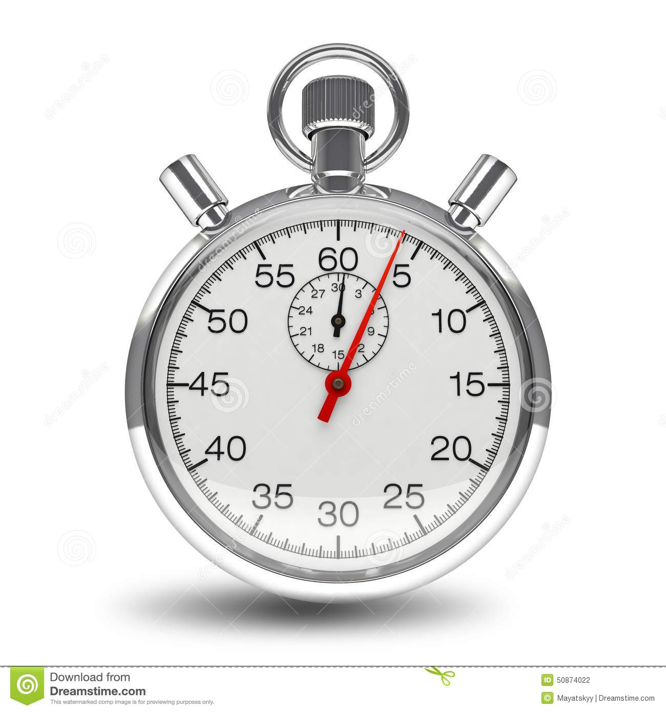 stopwatch mechanical clock timer chrome isolated stock photo image