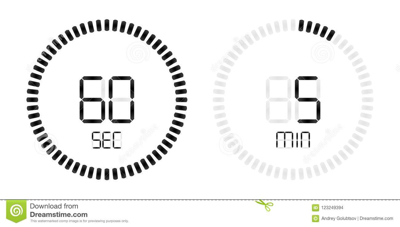 stopwatch second minute countdown digital timer stock vector