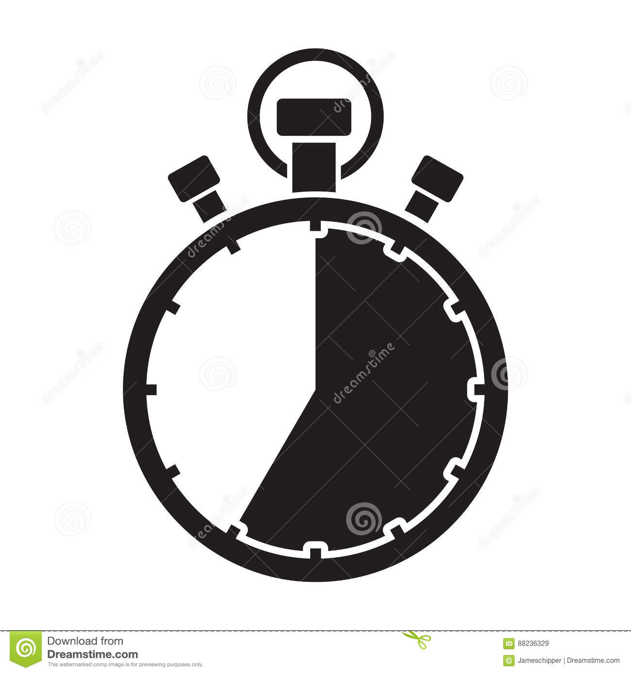 stopwatch thirty five minute stock vector illustration of