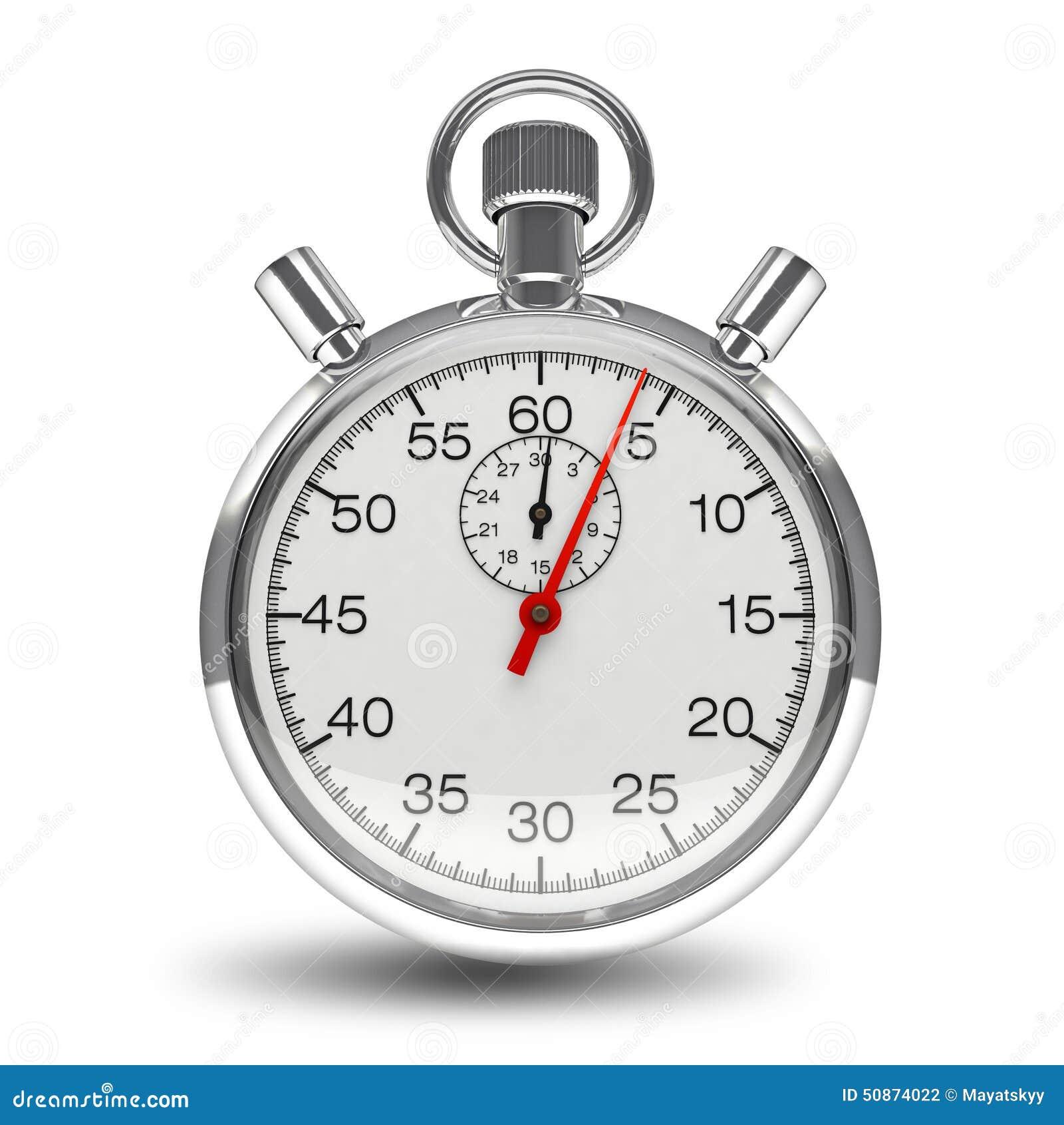 Stopwatch zegaru machinalny zegarowy chrom odizolowywający