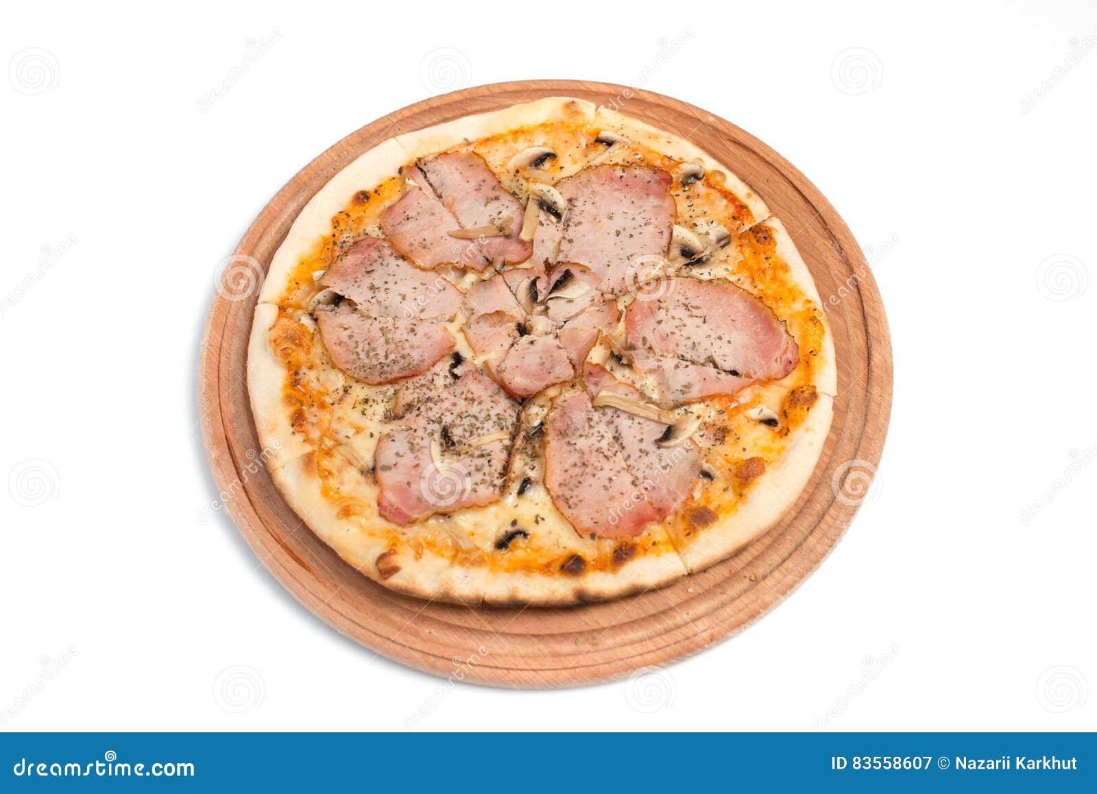 Stor aptitretande pizza på en träminnestavla