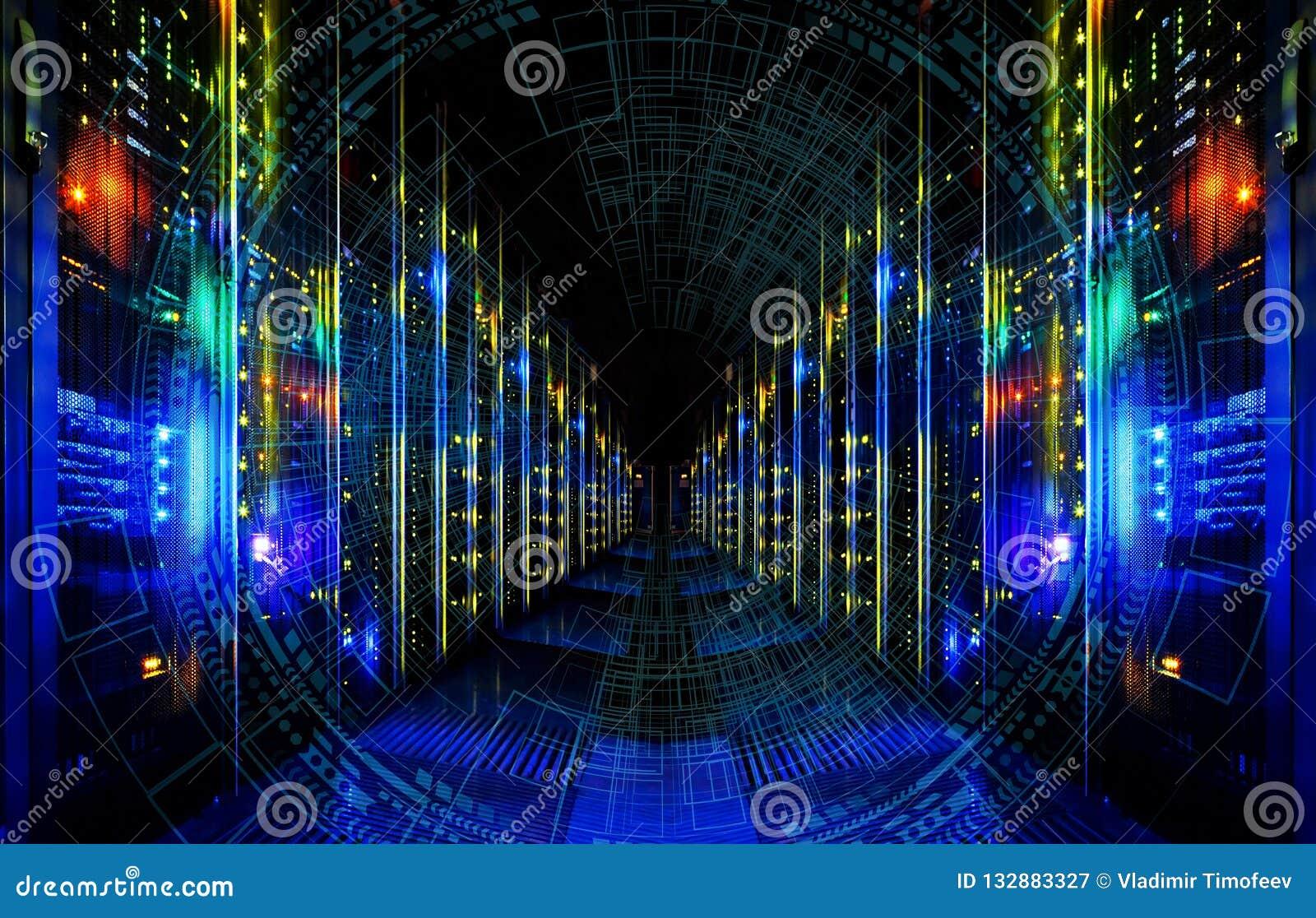 Stor dataabstrakt begreppvisualization Futuristisk estetisk design Stor databakgrund med HUD beståndsdelar på lagringsband i mode