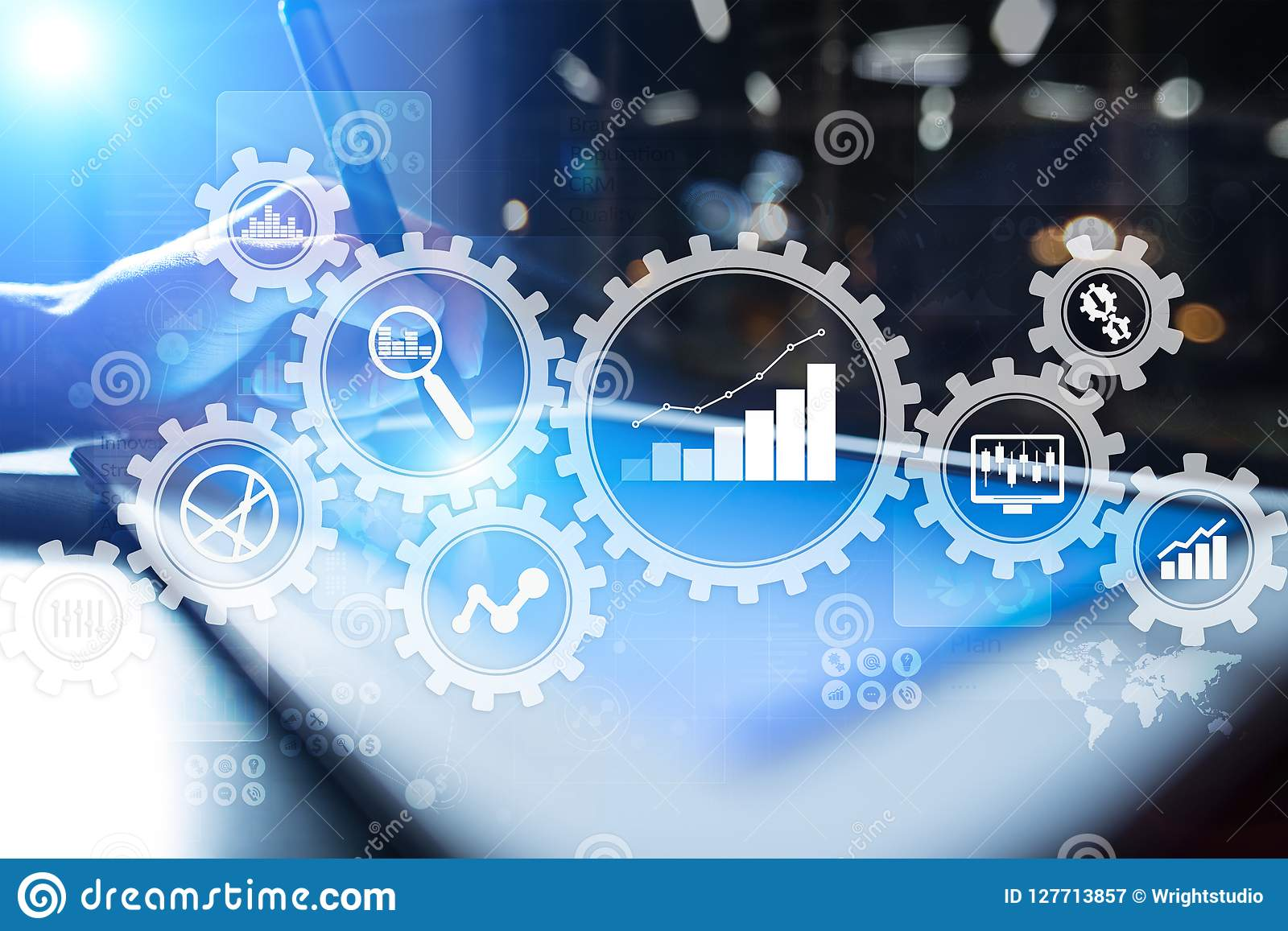 Stor dataanalytics Begrepp för BIaffärsintelligens med diagram- och grafsymboler på den faktiska skärmen