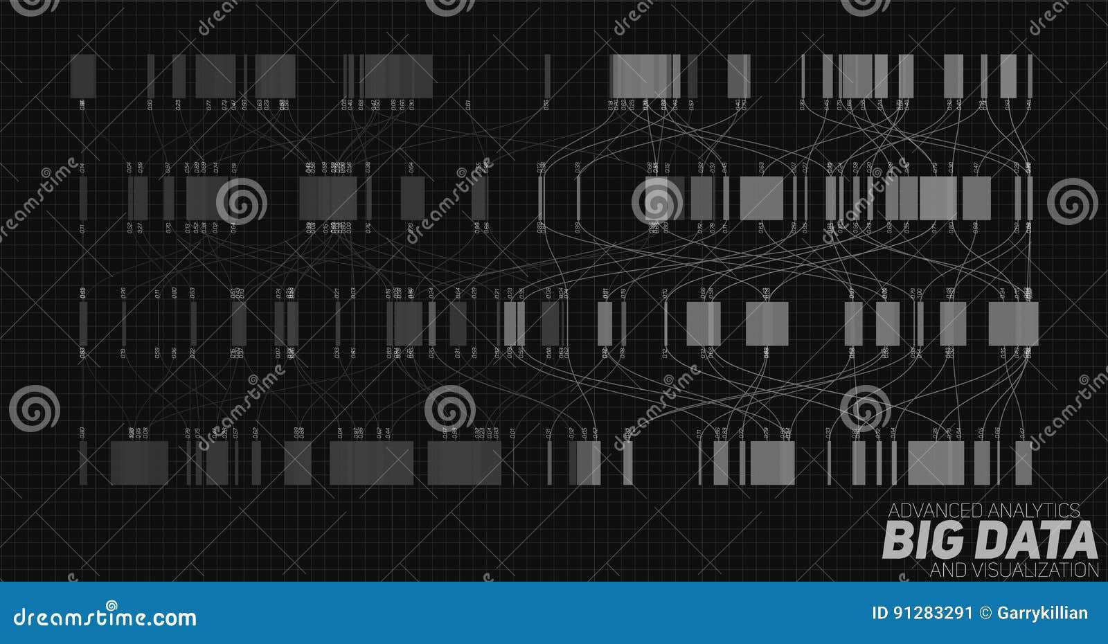 Stor datagråtonvisualization Futuristiskt infographic Estetisk design för information Visuell datakomplexitet