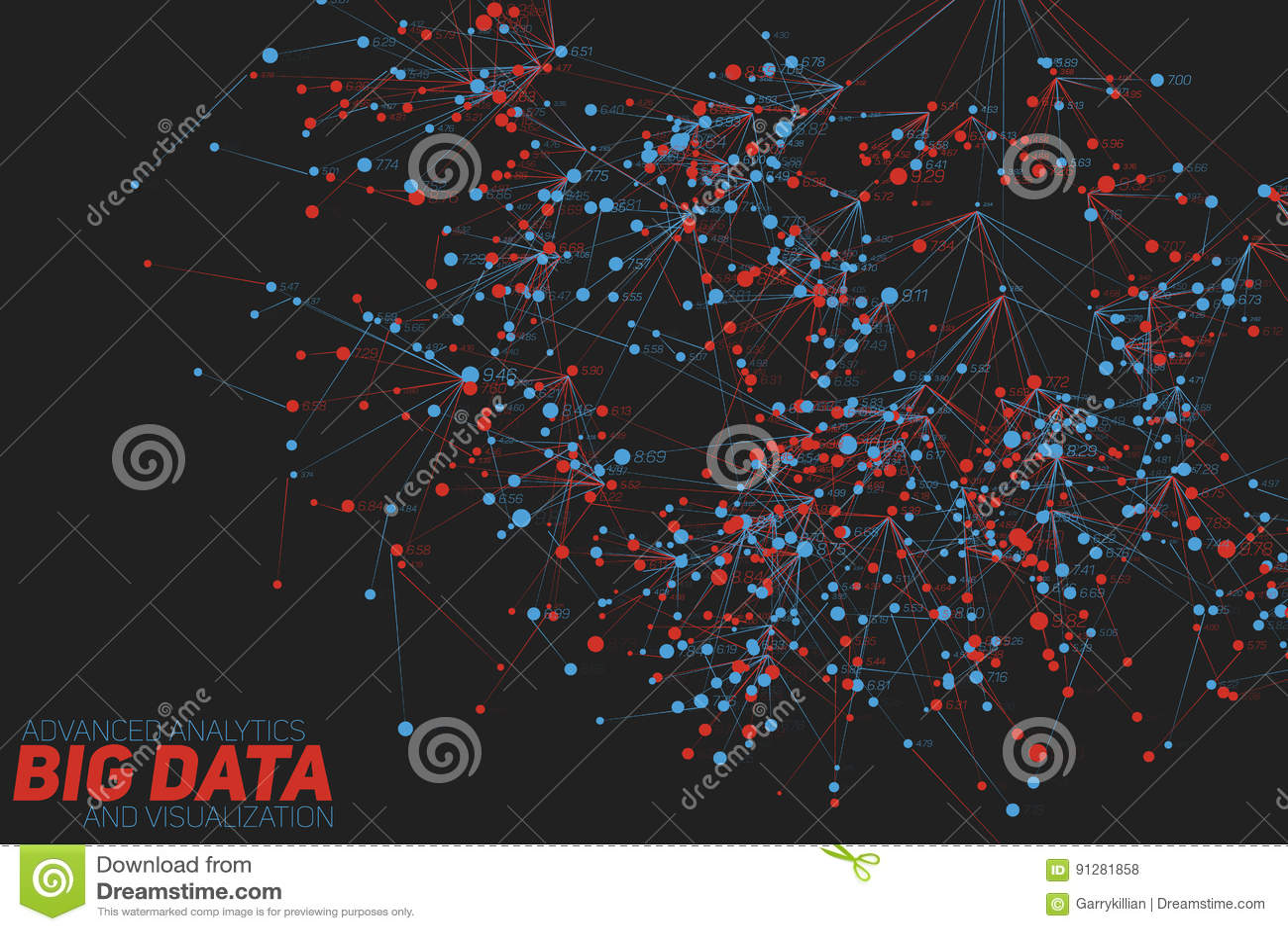 Stor dataträdvisualization Futuristiskt infographic Estetisk design för information Visuell datakomplexitet