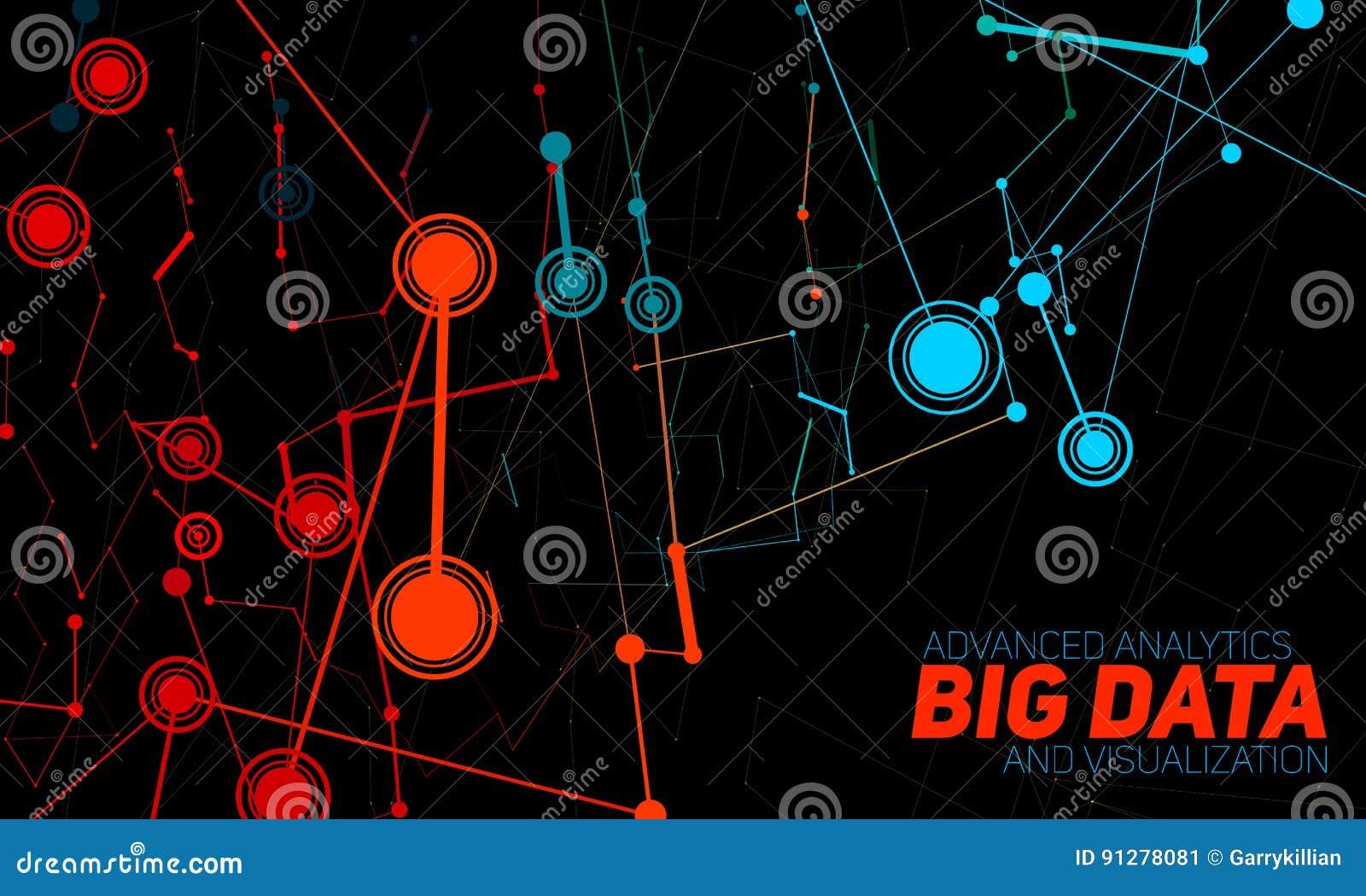 Stor datavisualization Futuristiskt infographic Estetisk design för information Visuell datakomplexitet