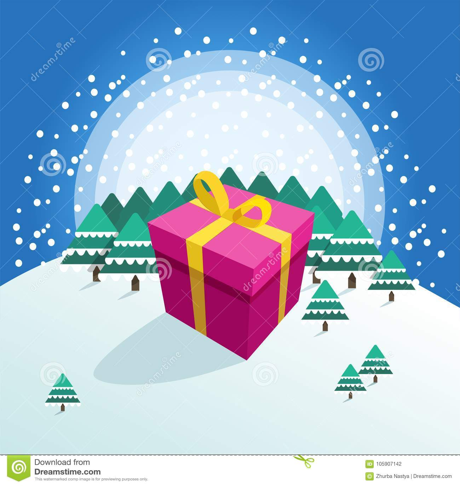 Stor färgrik packad gåvaask på vinterskogbakgrund