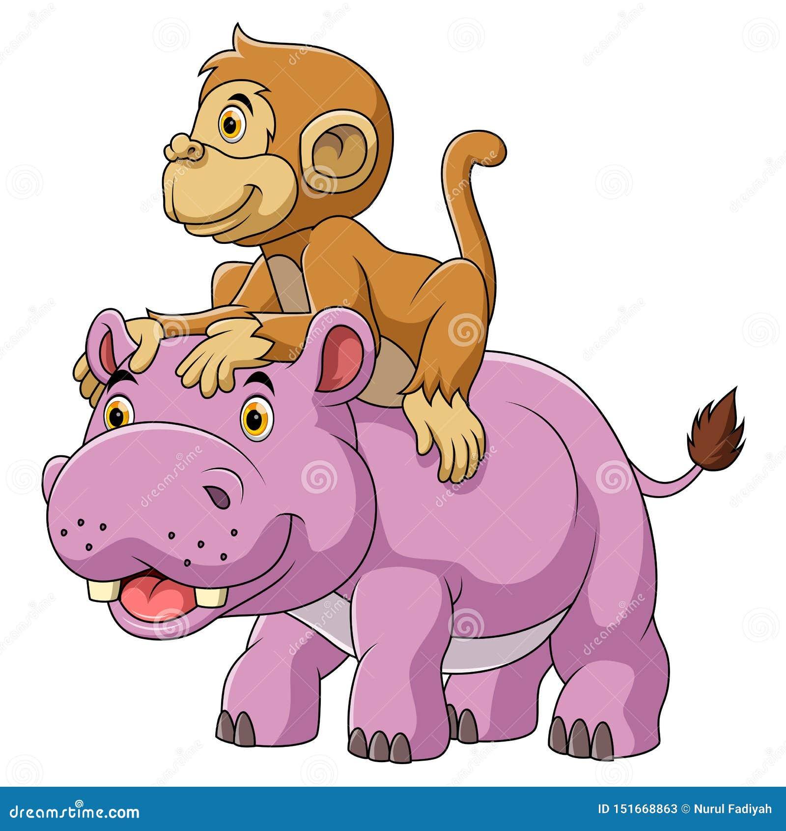 Stor flodhäst och gullig apa