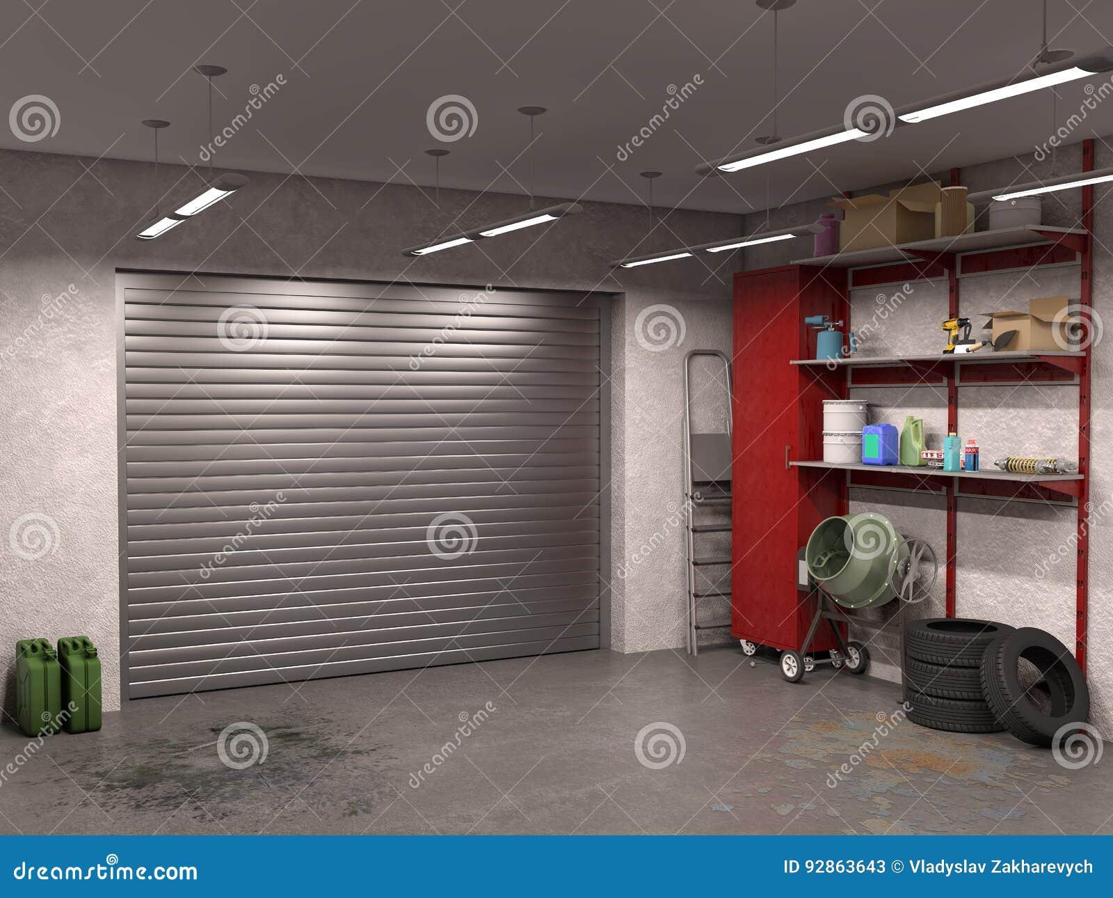 Stor Garageinre Med Garagedörrar Stock Illustrationer - Bild: 92863643