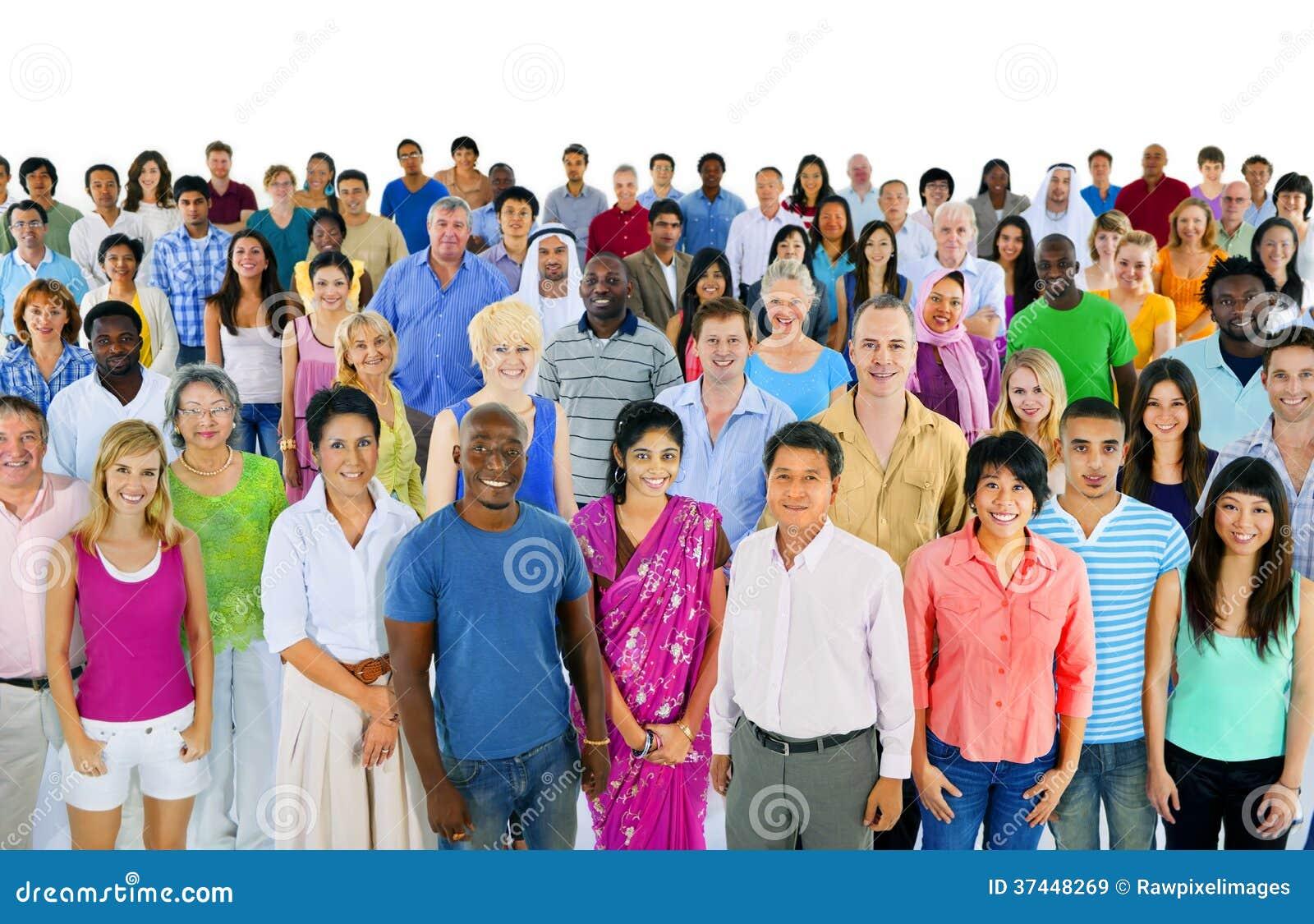 Stor grupp av multietniskt världsfolk