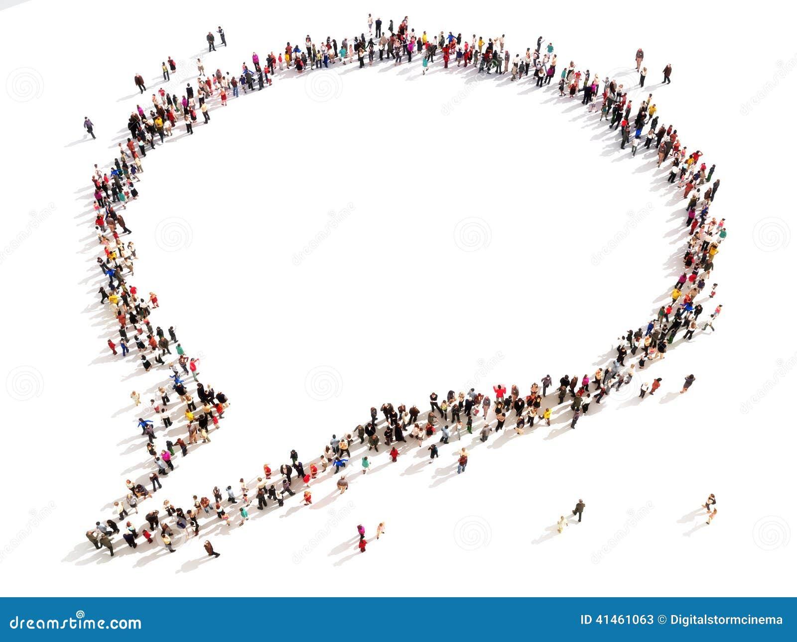 Stor grupp människor i formen av en pratstundbubbla