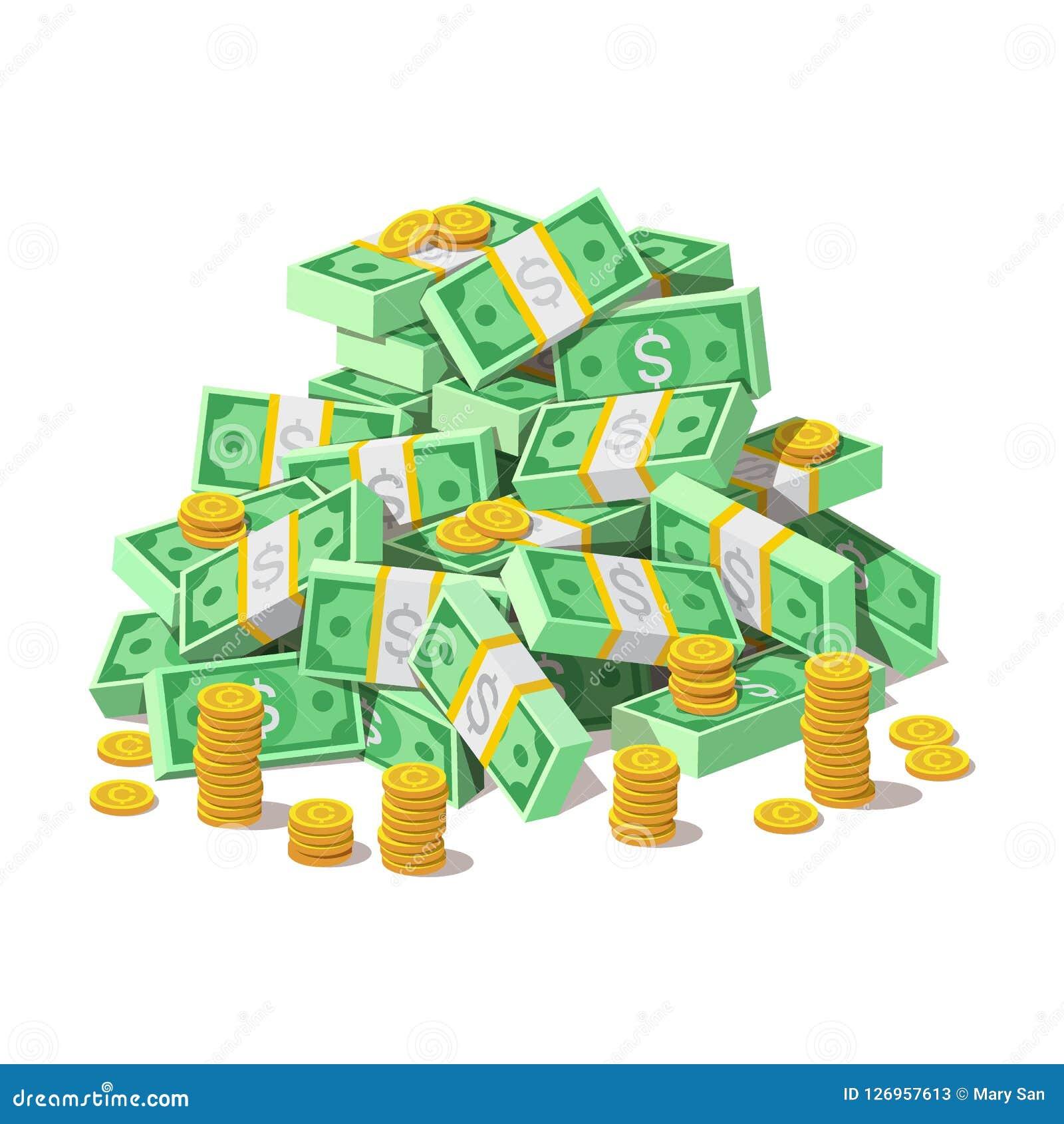 Stor hög av kontanta pengarsedlar och guld- mynt, cent