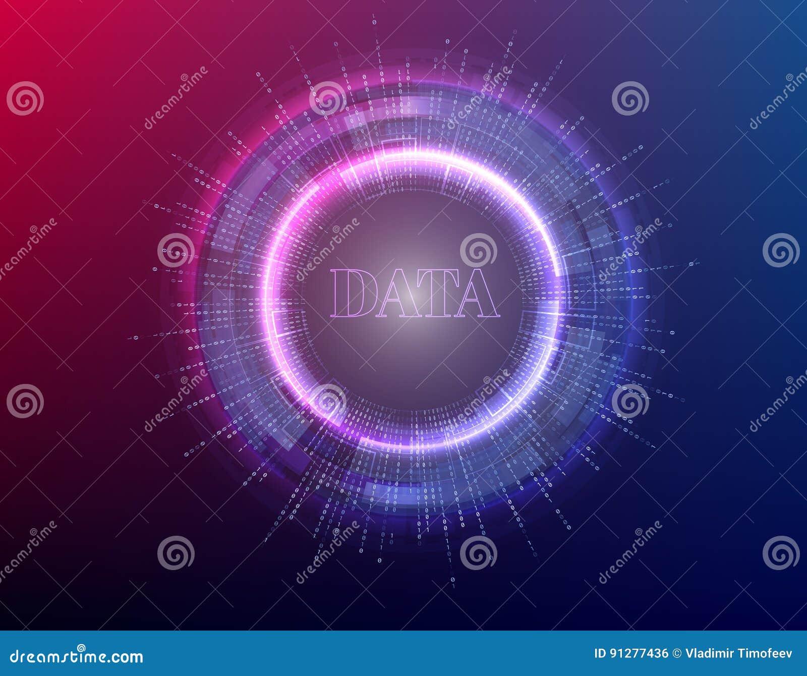 Stor illustration för databakgrundsvektor Informationsströmmar framtida teknologi Fractalbeståndsdel med binär kod