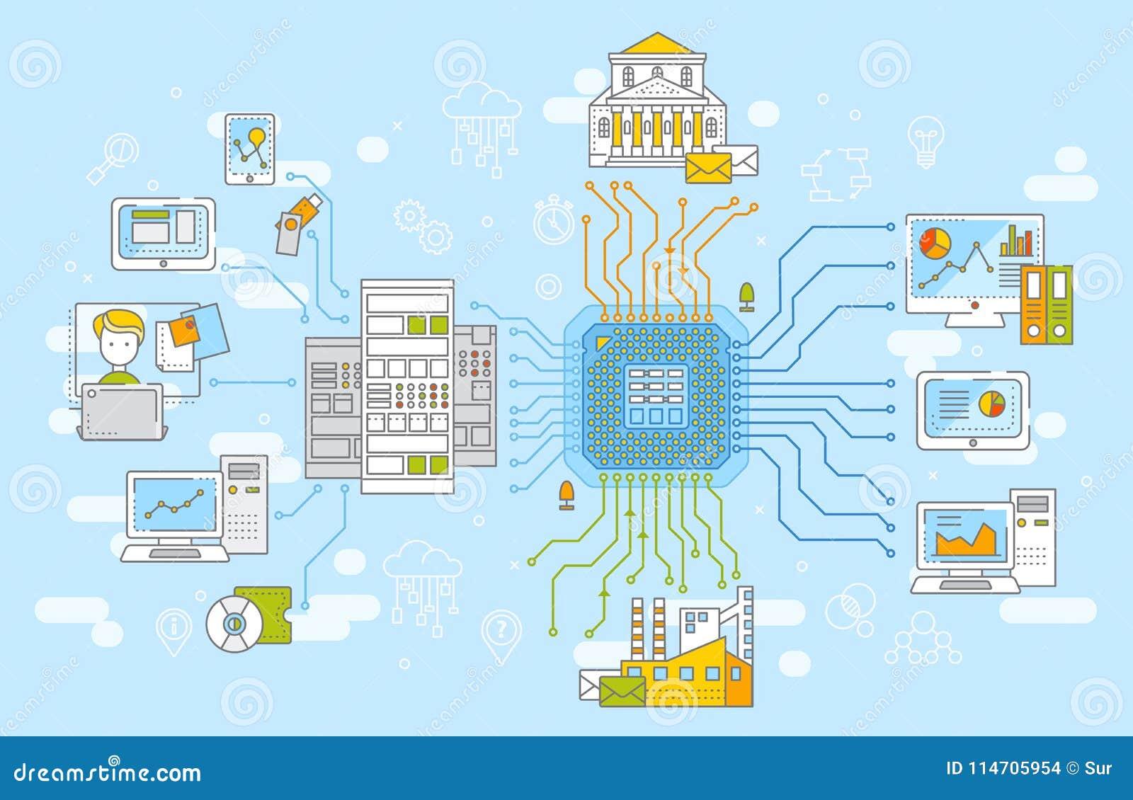 Stor illustration för vektor för begrepp för datanätverksledning Samling av information, datalagring och analysys