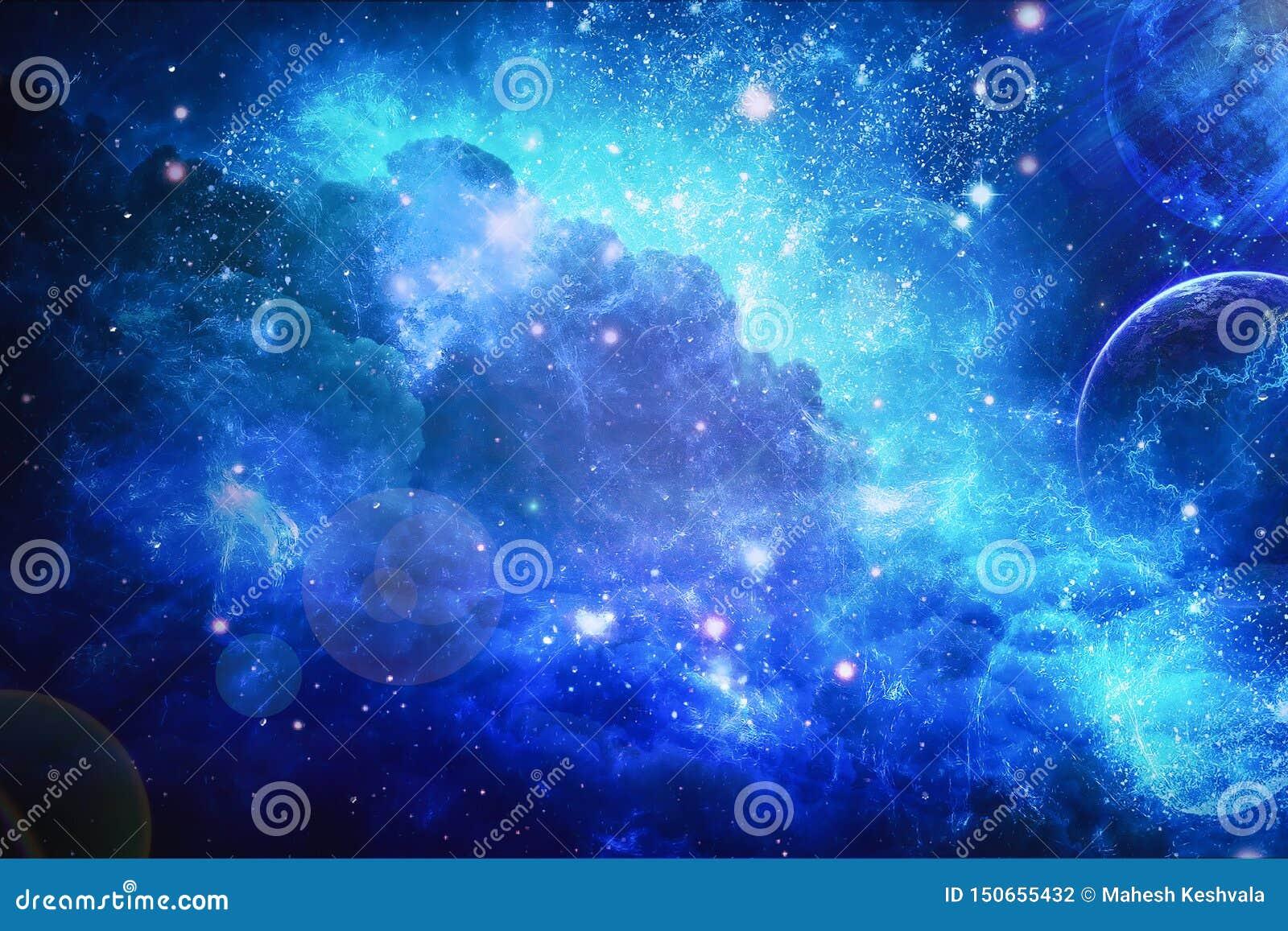 Stor klunga av stjärnor f?rgrik nebula Planeter och utrymme