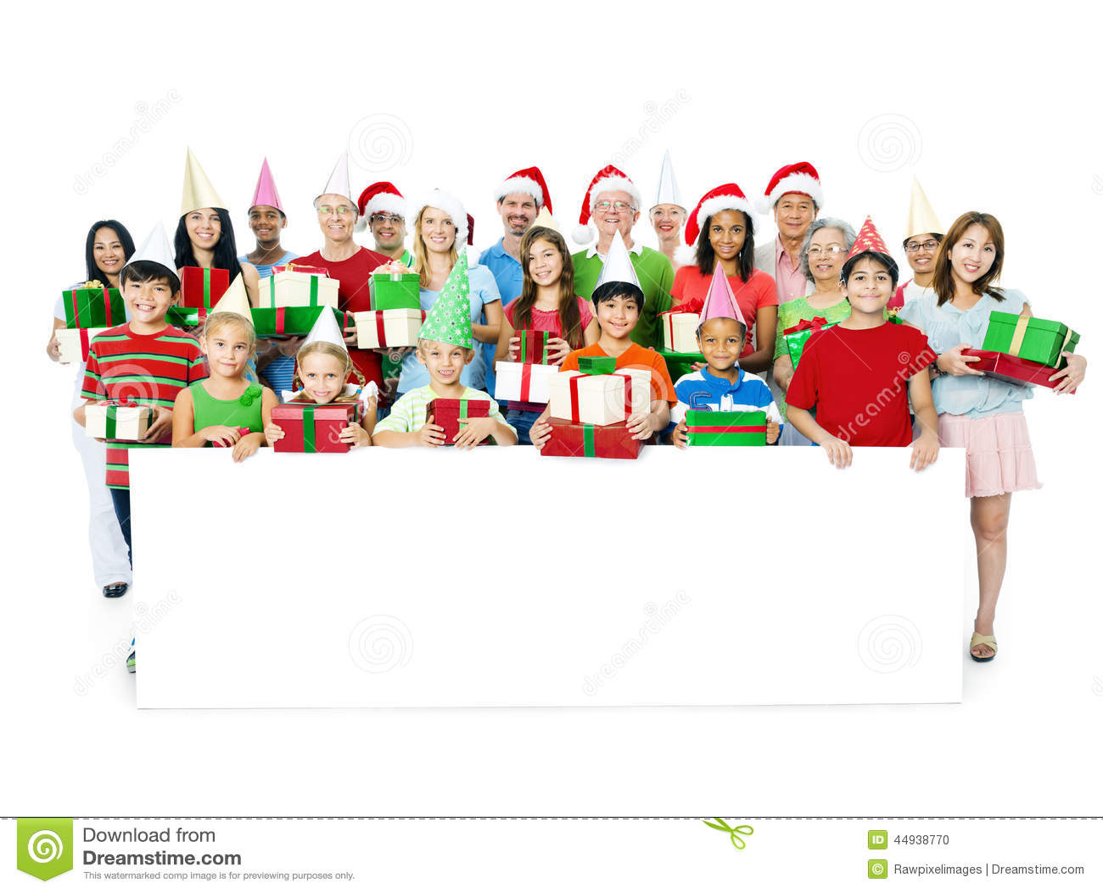 Stor lycklig familj som firar julsamhörighetskänsla