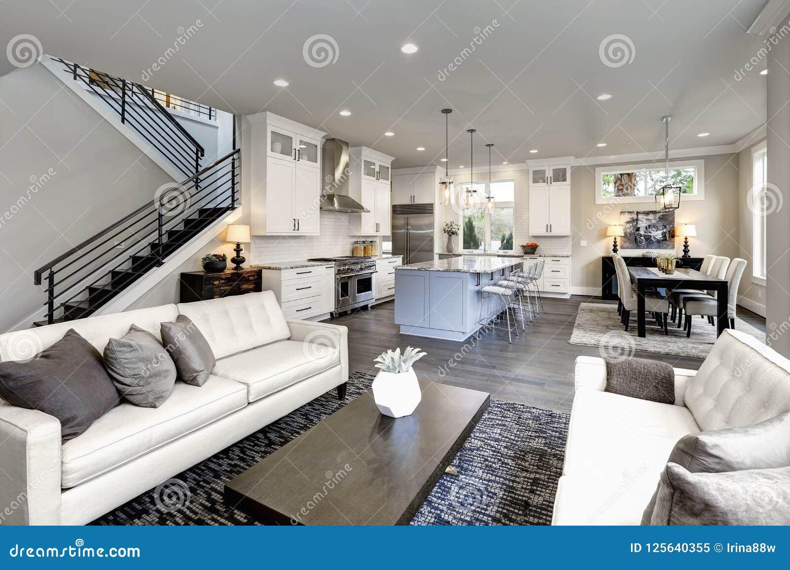 Stor modern lyxig vardagsruminre i det Bellevue hemmet