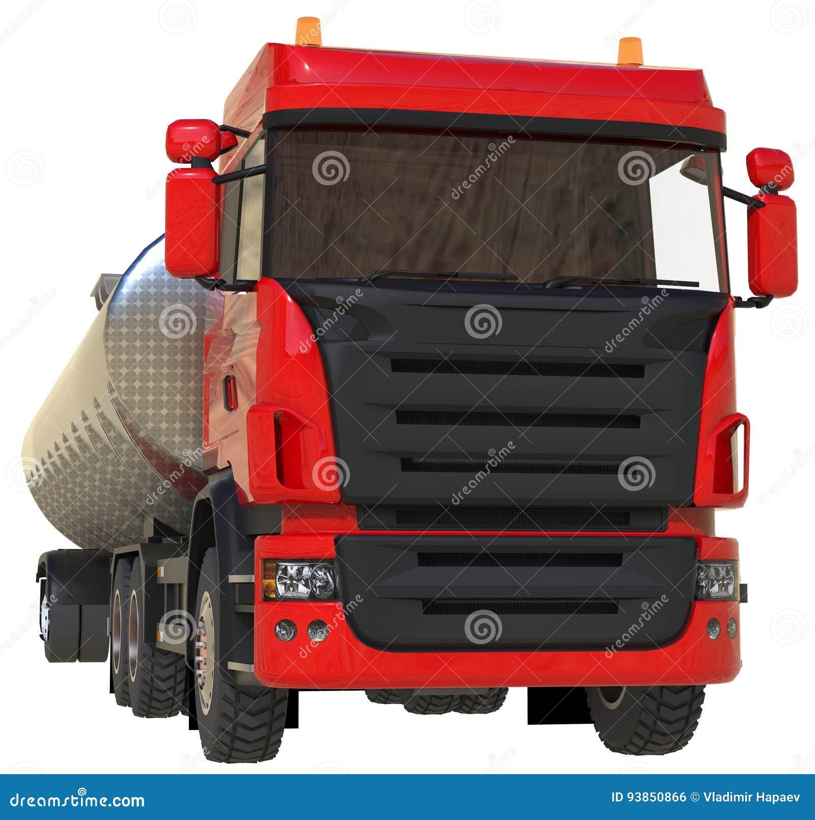 Stor röd lastbiltankfartyg med en polerad metallsläp Sikter från alla sidor illustration 3d