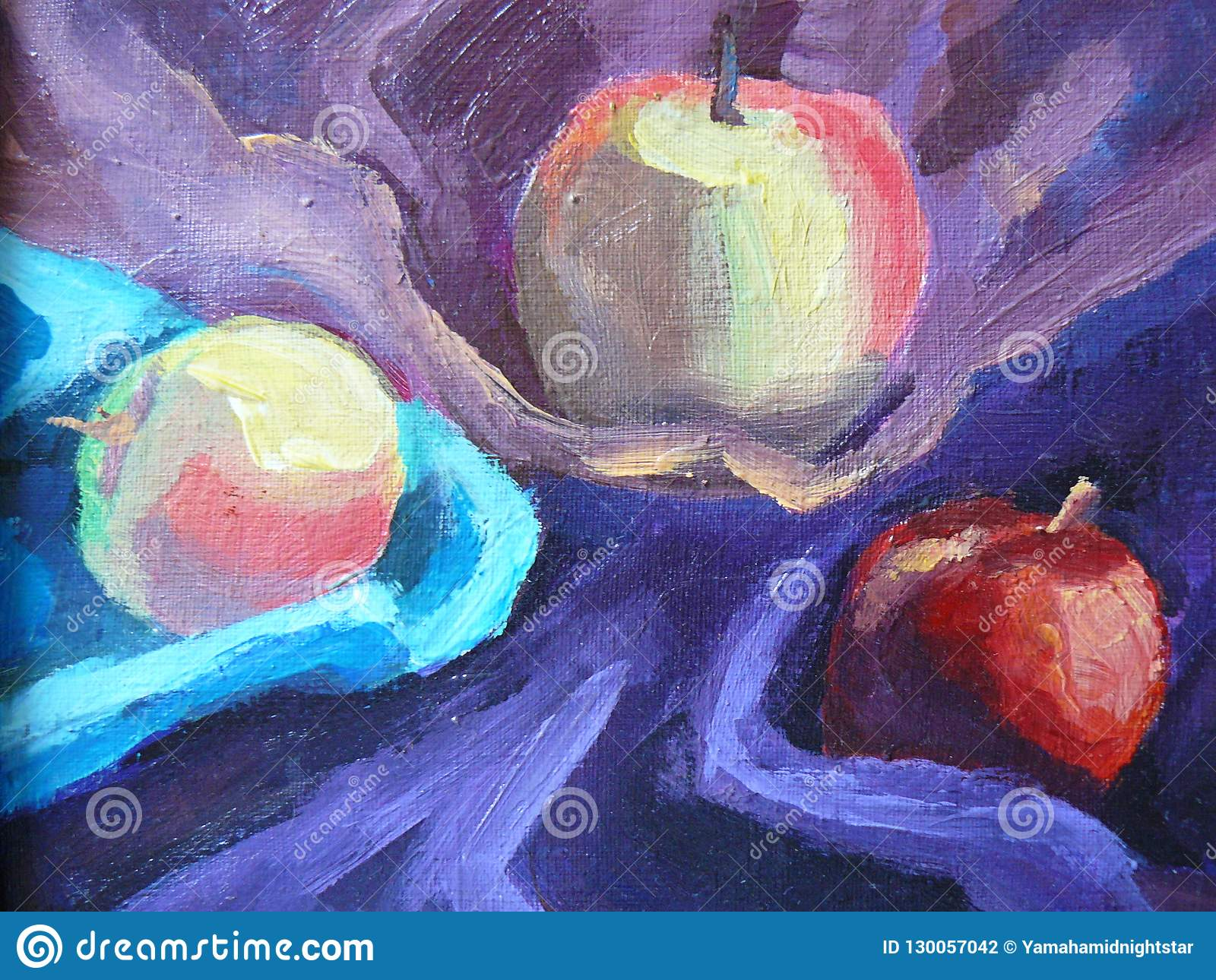Stor stilleben med tre äpplen