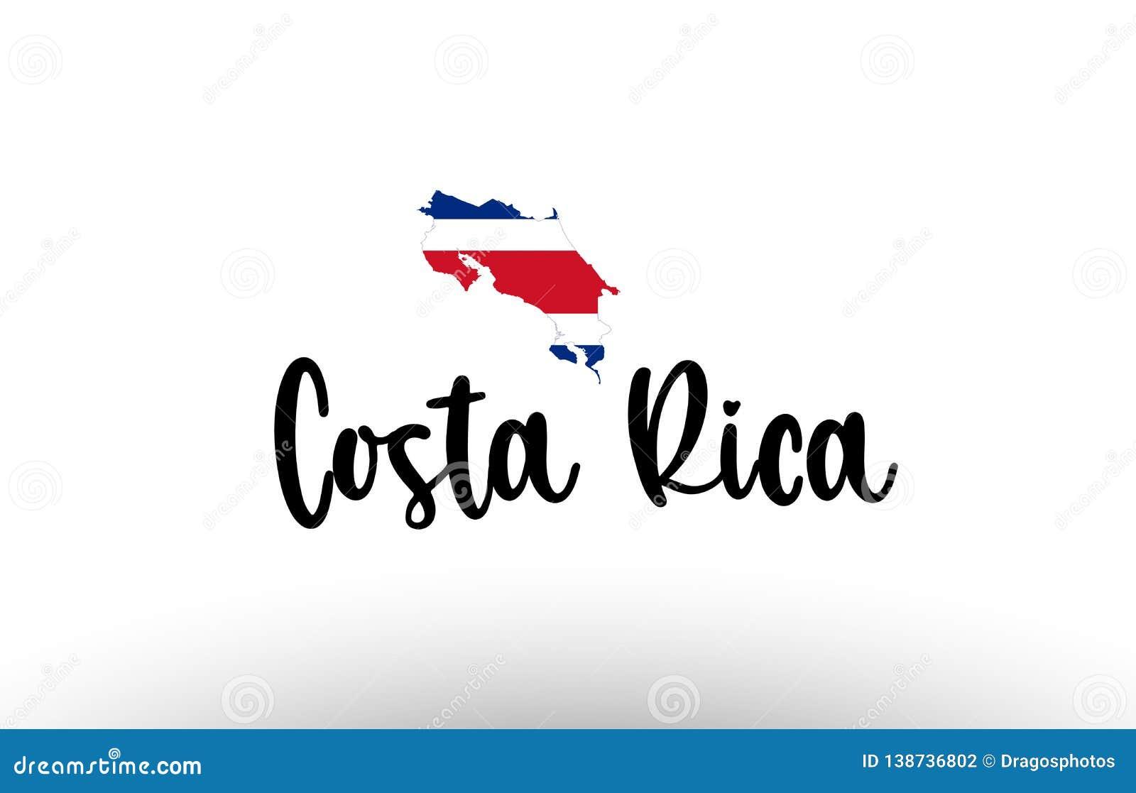 Stor text för Costa Rica land med flaggan inom översiktsbegreppslogo