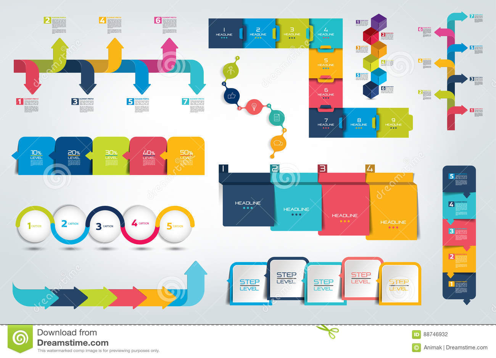Stor uppsättning av den Infographic timelinerapporten, mall, diagram, intrig