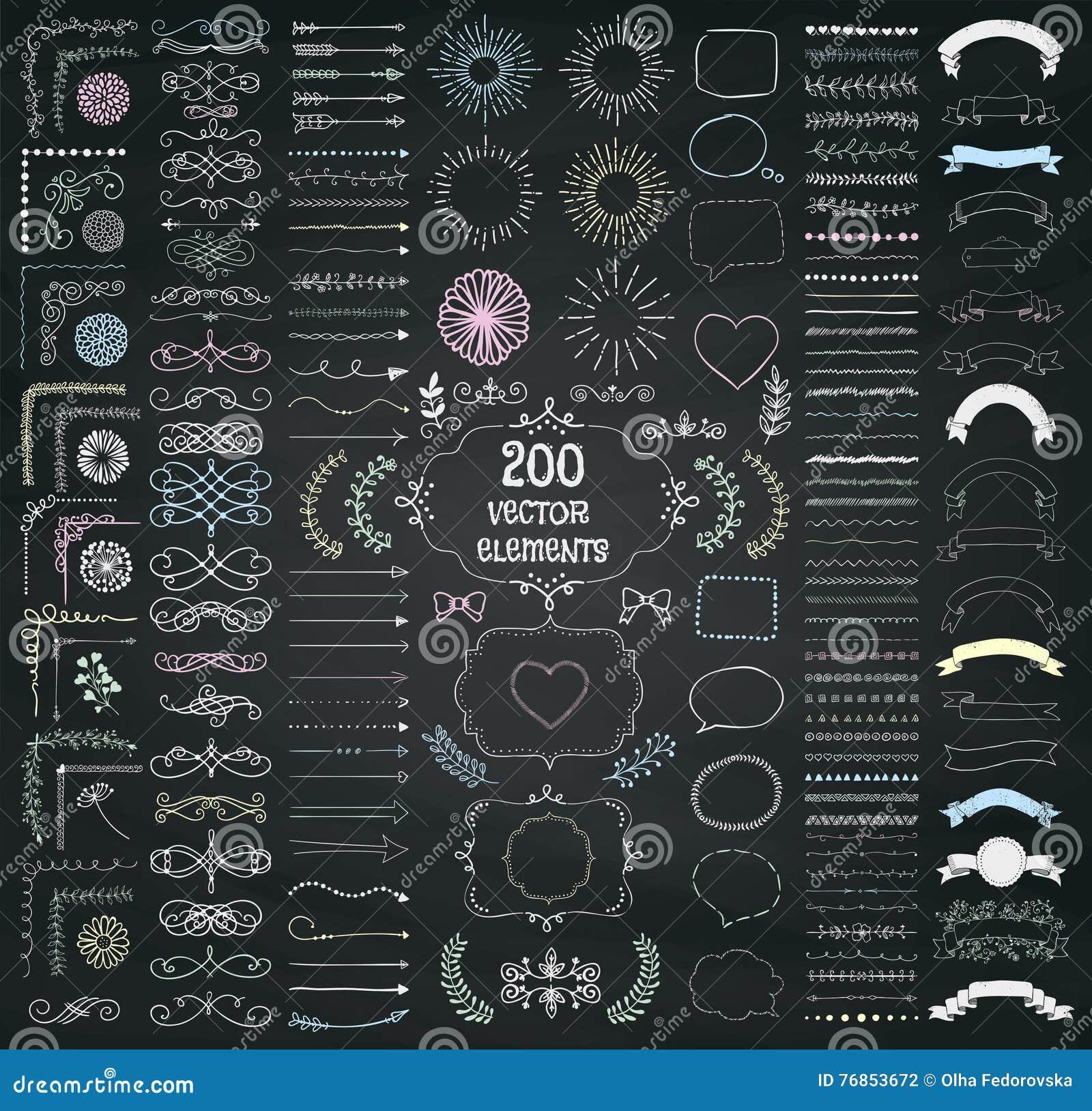 Stor uppsättning av drog designbeståndsdelar för vektor dekorativ hand