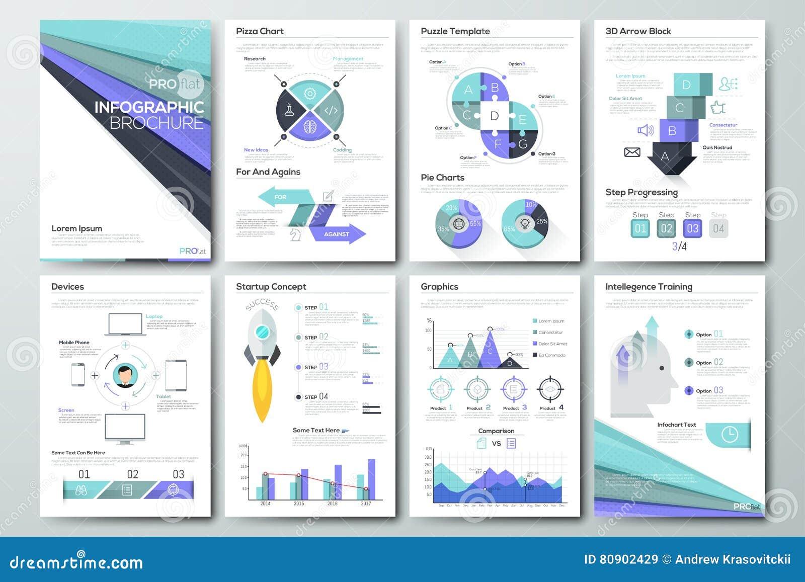 Stor uppsättning av infographic vektorbeståndsdelar och affärsbroschyrer